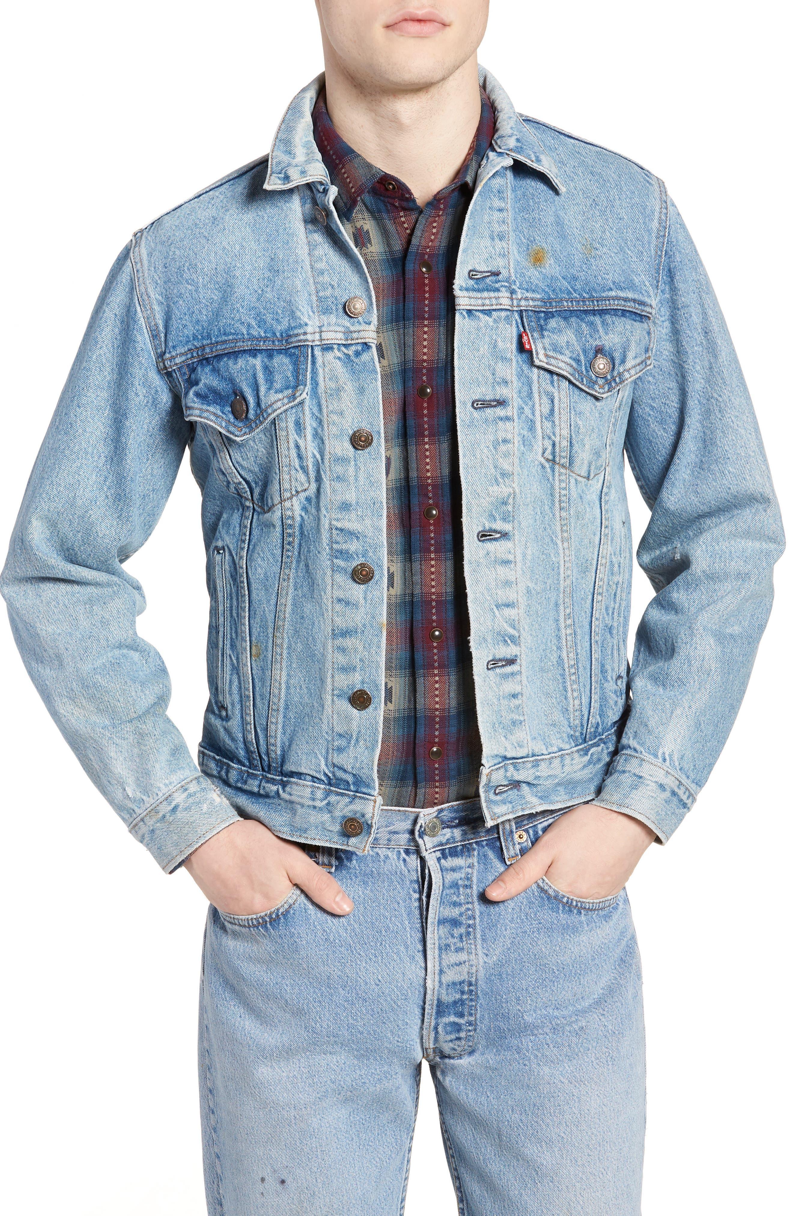 Authorized Vintage Trucker Jacket,                             Main thumbnail 1, color,                             AV BLUE