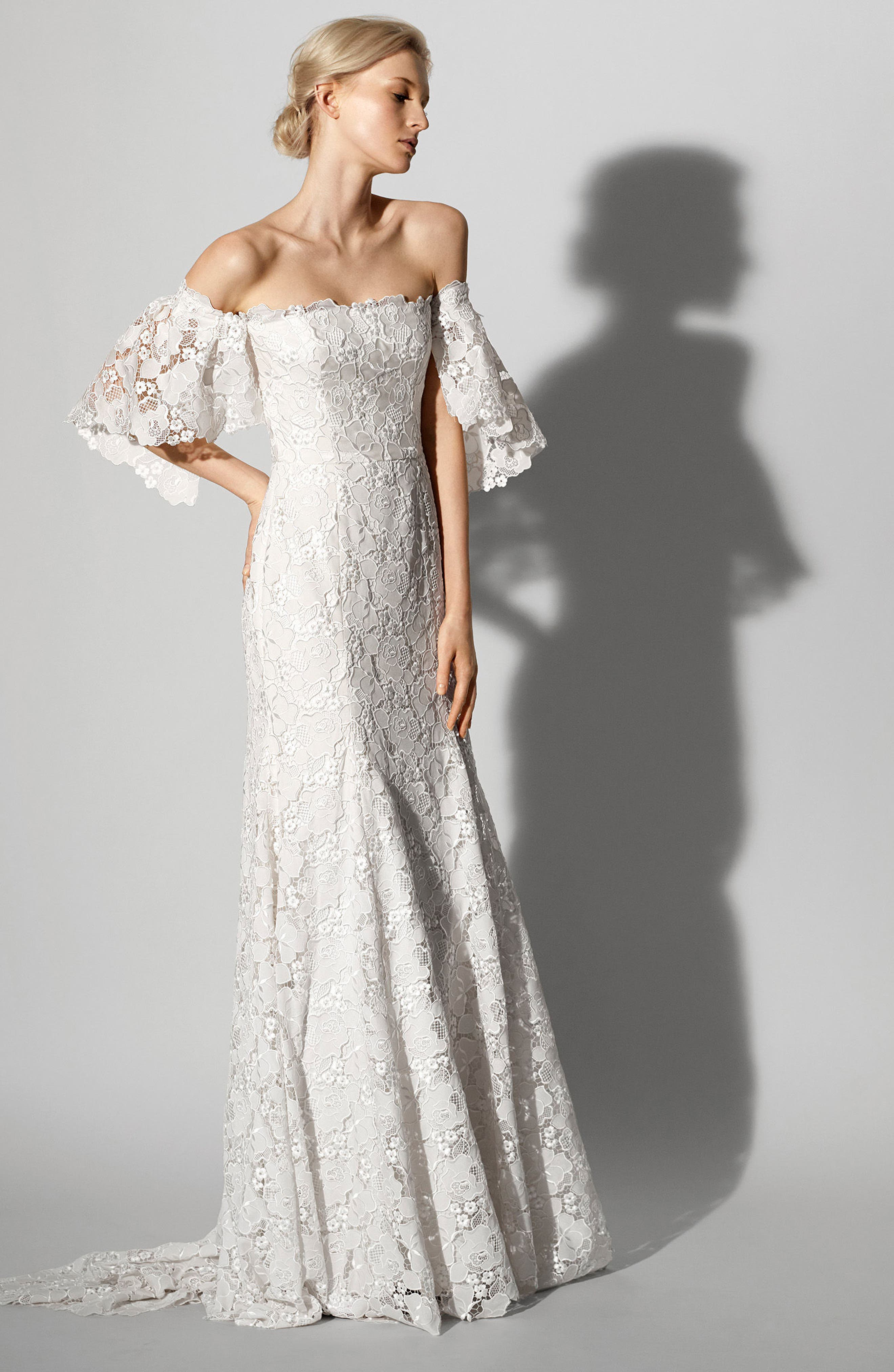 Feliciity Lace Off the Shoulder Gown,                             Alternate thumbnail 2, color,                             IVORY