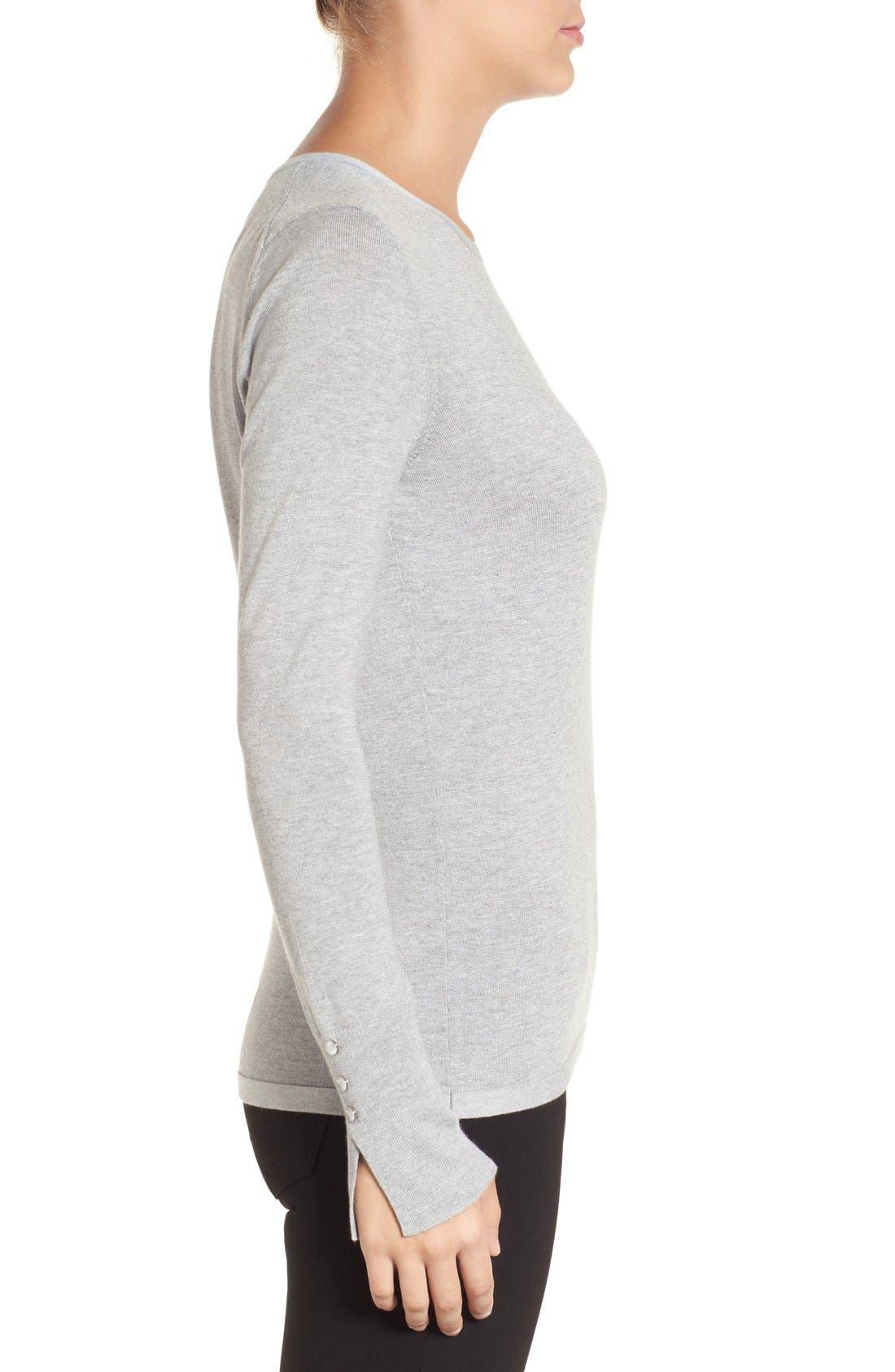Cuff Detail Silk Blend Crewneck Sweater,                             Alternate thumbnail 3, color,                             030