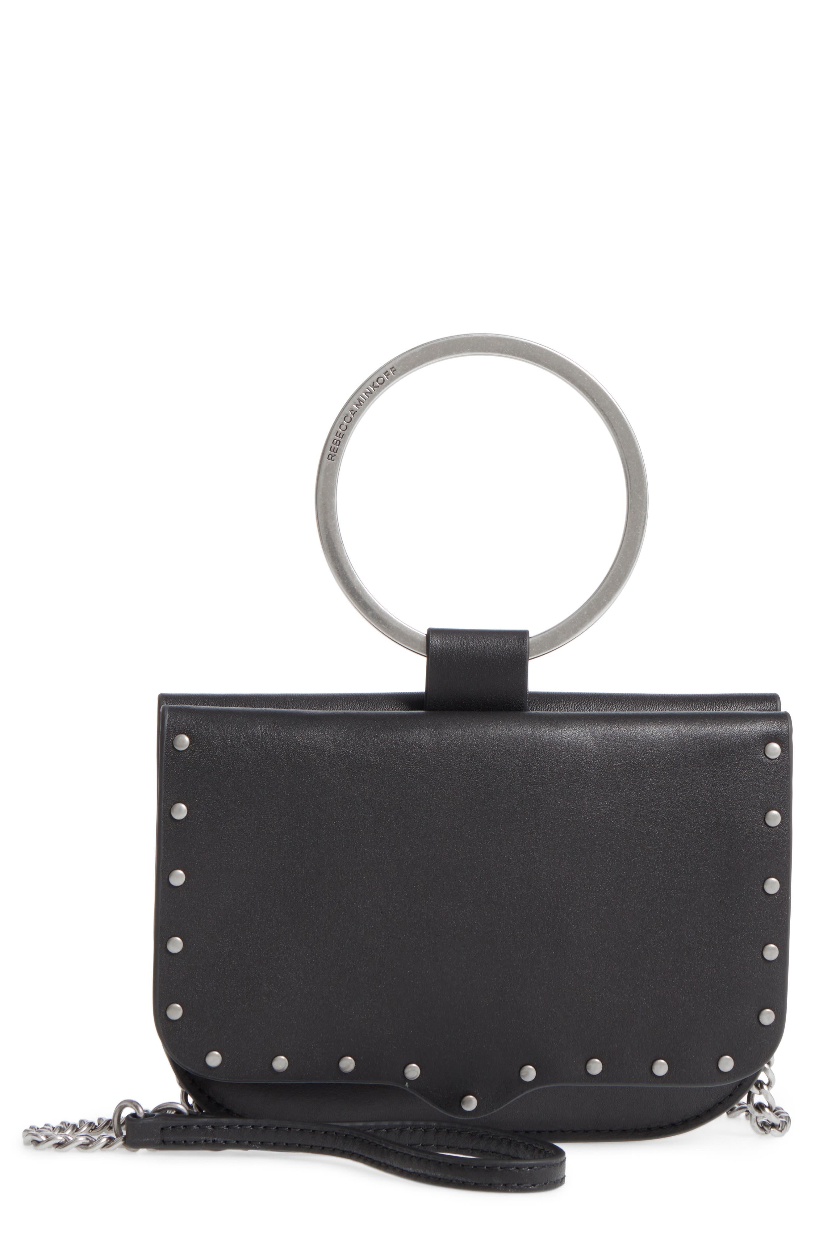 Ring Leather Crossbody Bag,                             Main thumbnail 1, color,                             001
