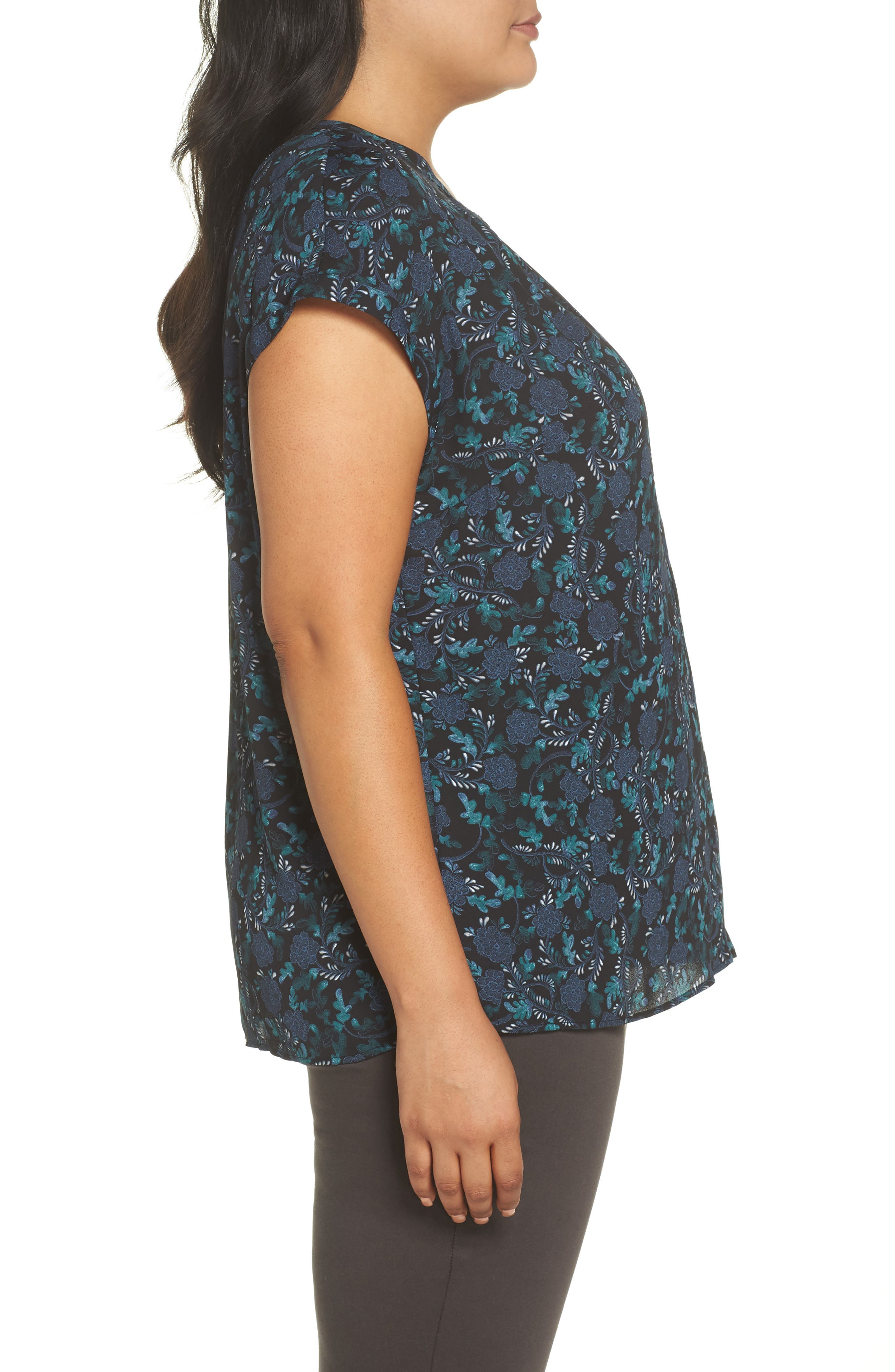 Gathered Neck Button Down Top,                             Alternate thumbnail 3, color,                             BLACK- GREEN FLORAL PRINT