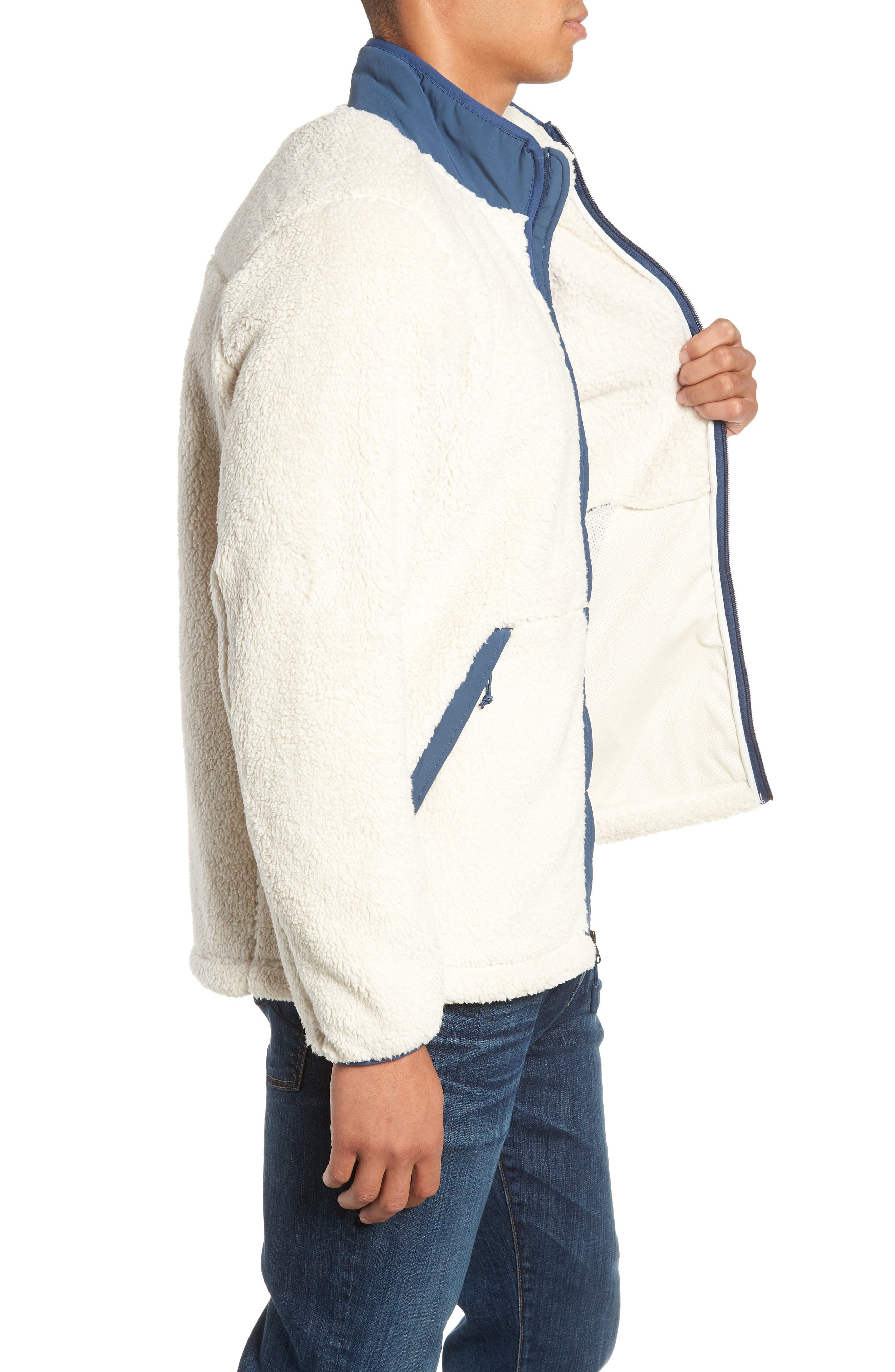 Campshire Zip Fleece Jacket,                             Alternate thumbnail 3, color,                             VINTAGE WHITE/ SHADY BLUE