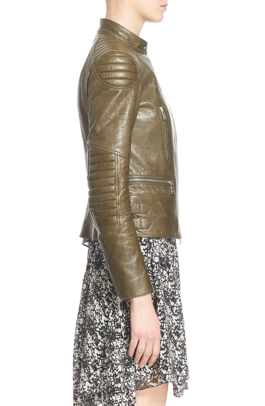 'Sidney' Leather Moto Jacket,                             Alternate thumbnail 3, color,                             338