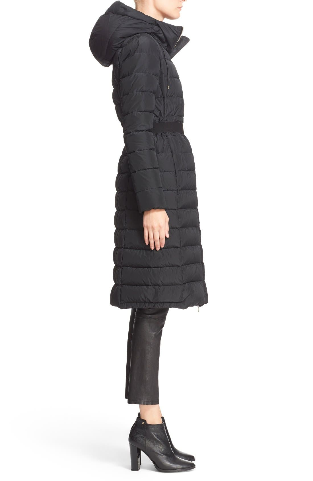'Imin' Water Resistant Belted Down Puffer Coat,                             Alternate thumbnail 6, color,                             001