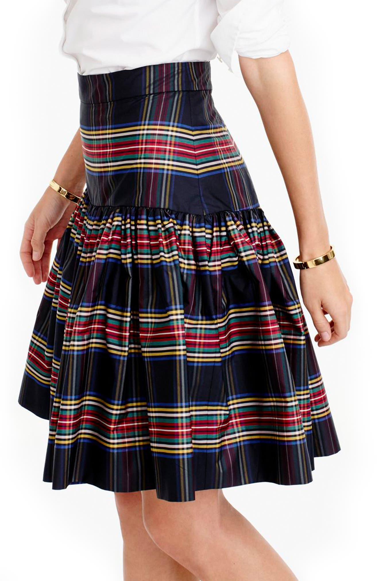 J.CREW,                             Stewart Plaid Taffeta Skirt,                             Alternate thumbnail 2, color,                             001