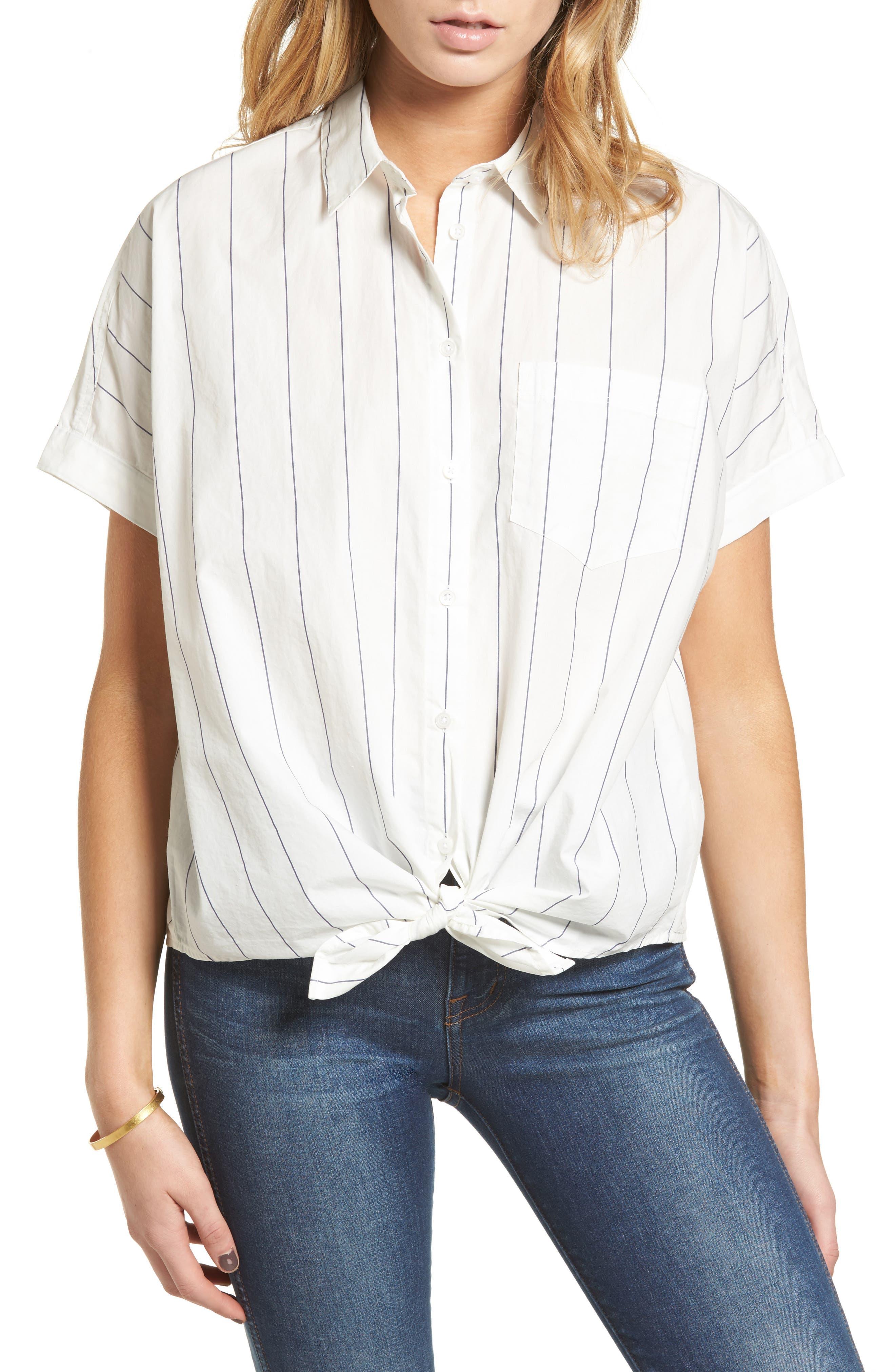 Tie Front Shirt,                         Main,                         color, 100
