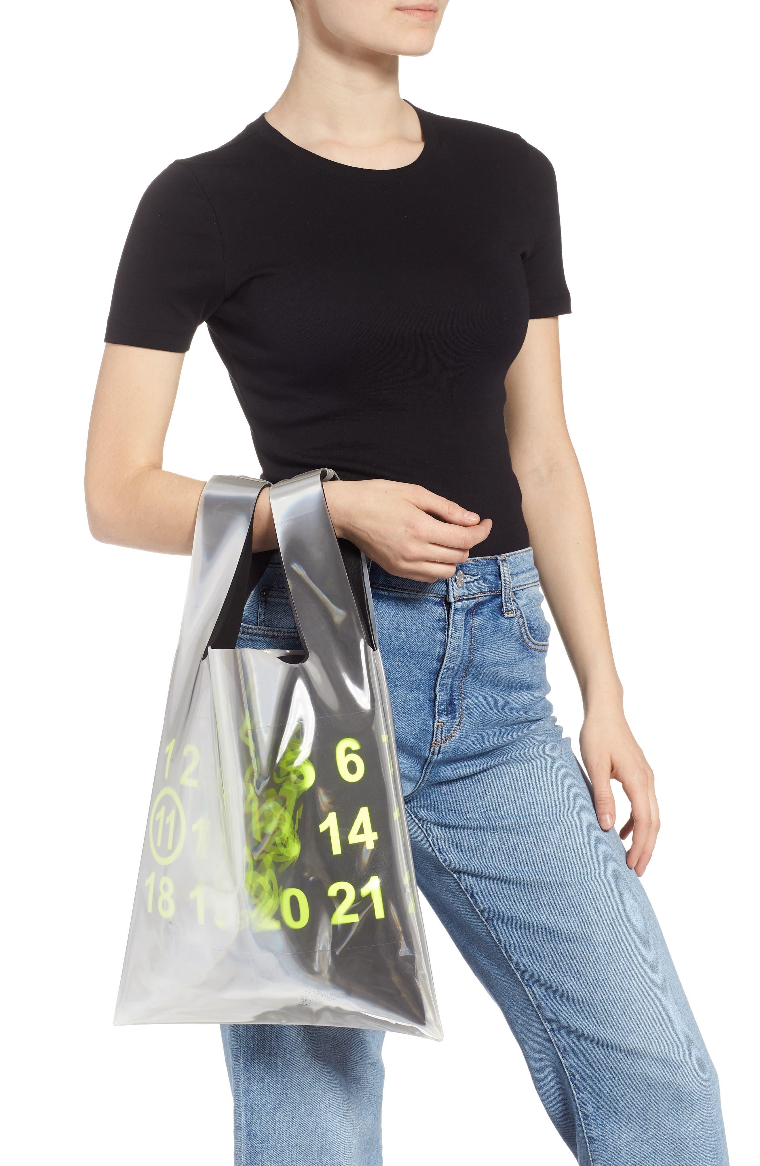 PVC & Leather Shopper Bag,                             Alternate thumbnail 2, color,                             BLACK/ YELLOW FLUO
