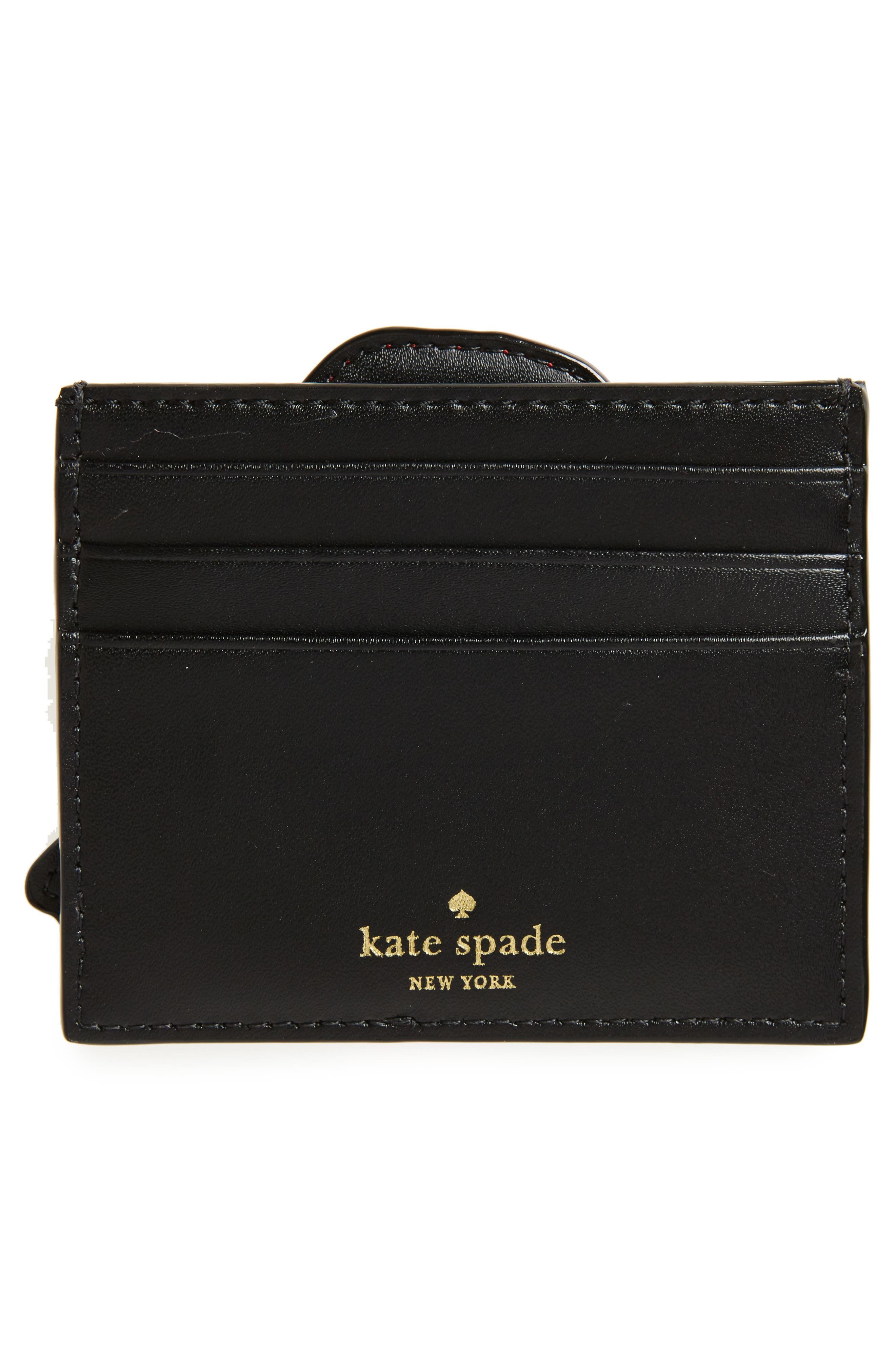 ooh la la poppy leather card holder kate,                             Alternate thumbnail 2, color,                             001