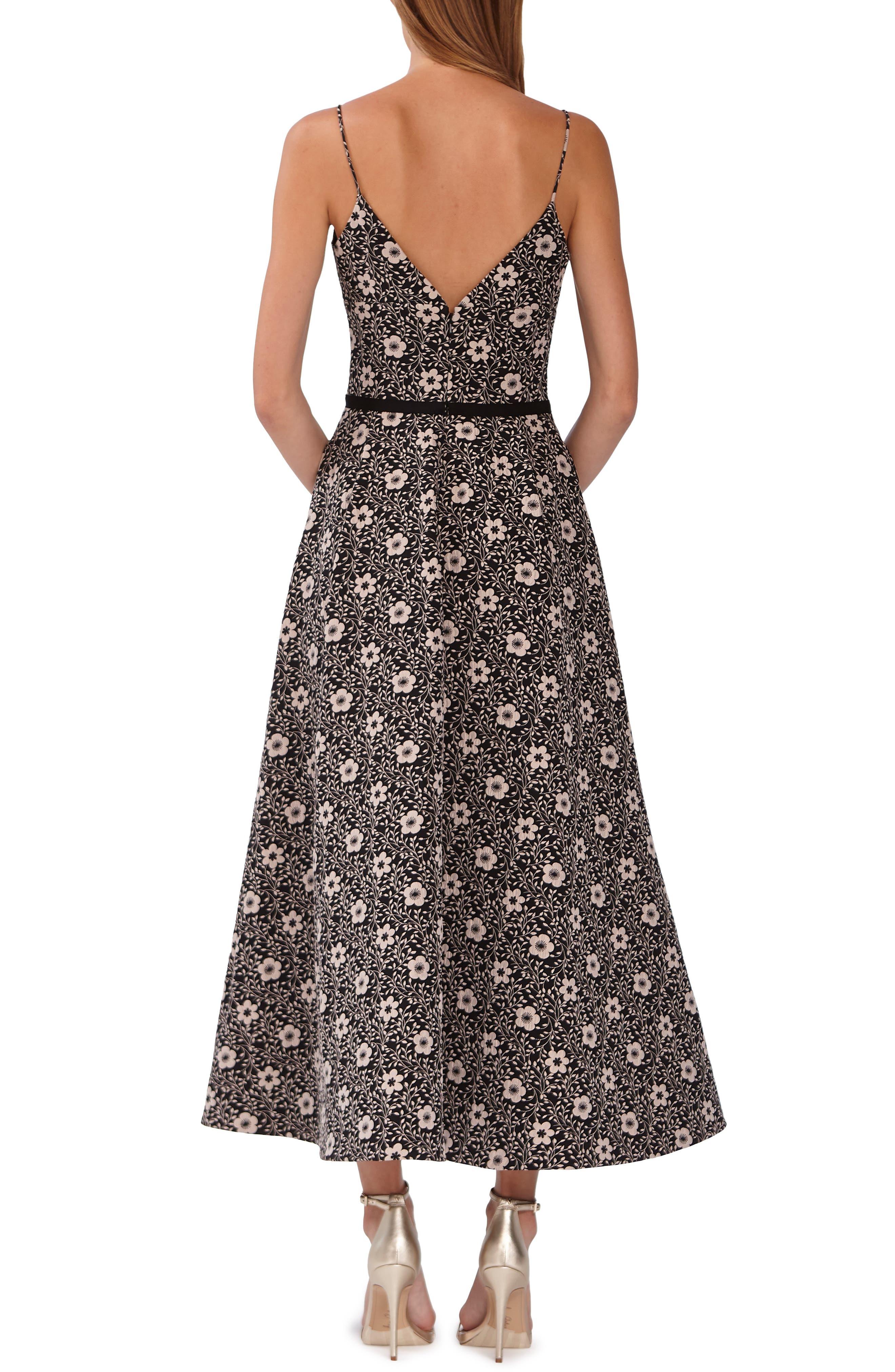 ML MONIQUE LHUILLIER,                             Floral Jacquard Evening Dress,                             Alternate thumbnail 2, color,                             JET COMBO