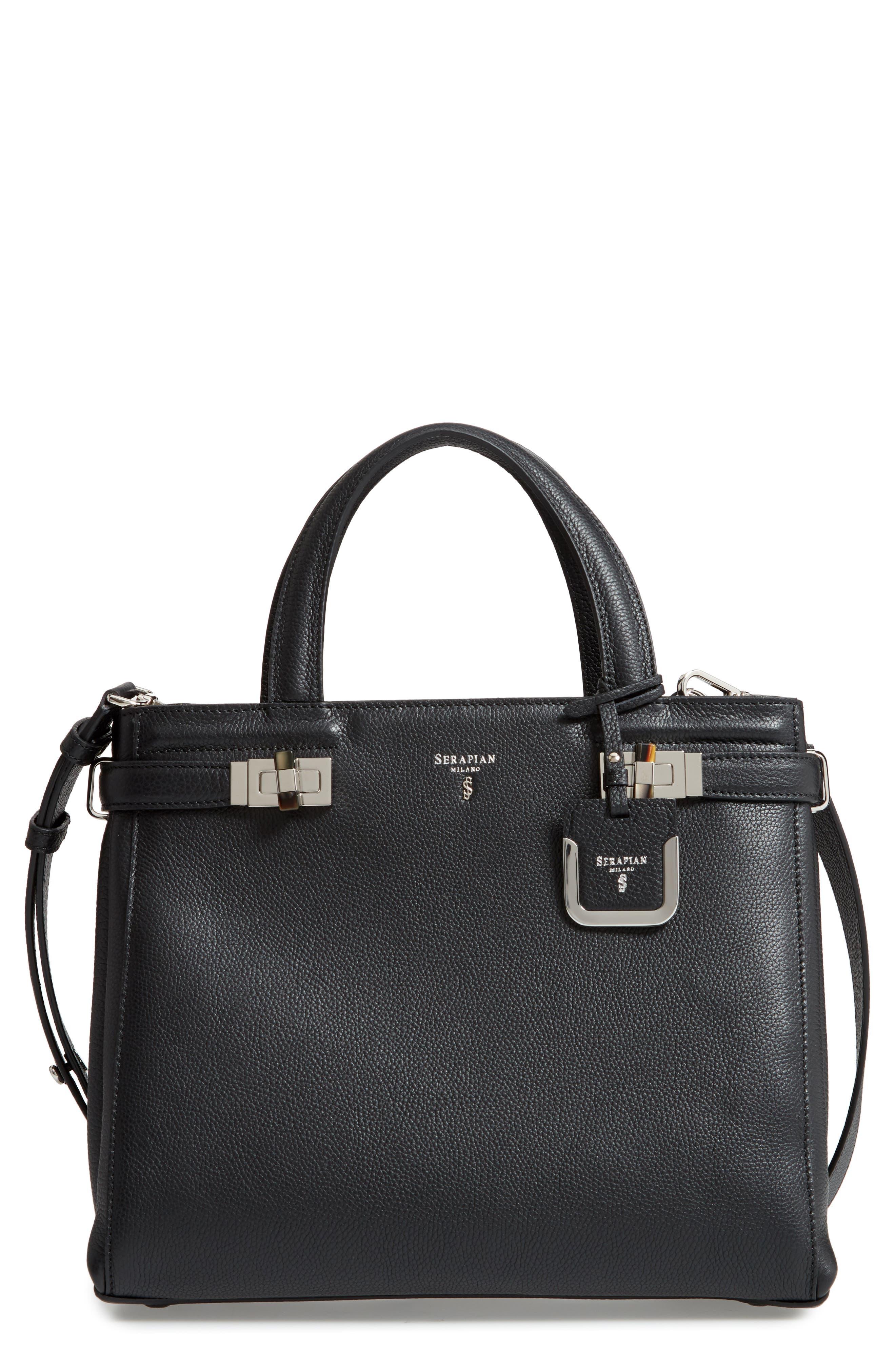 Small Meline Evolution Leather Bag,                             Main thumbnail 1, color,                             BLACK