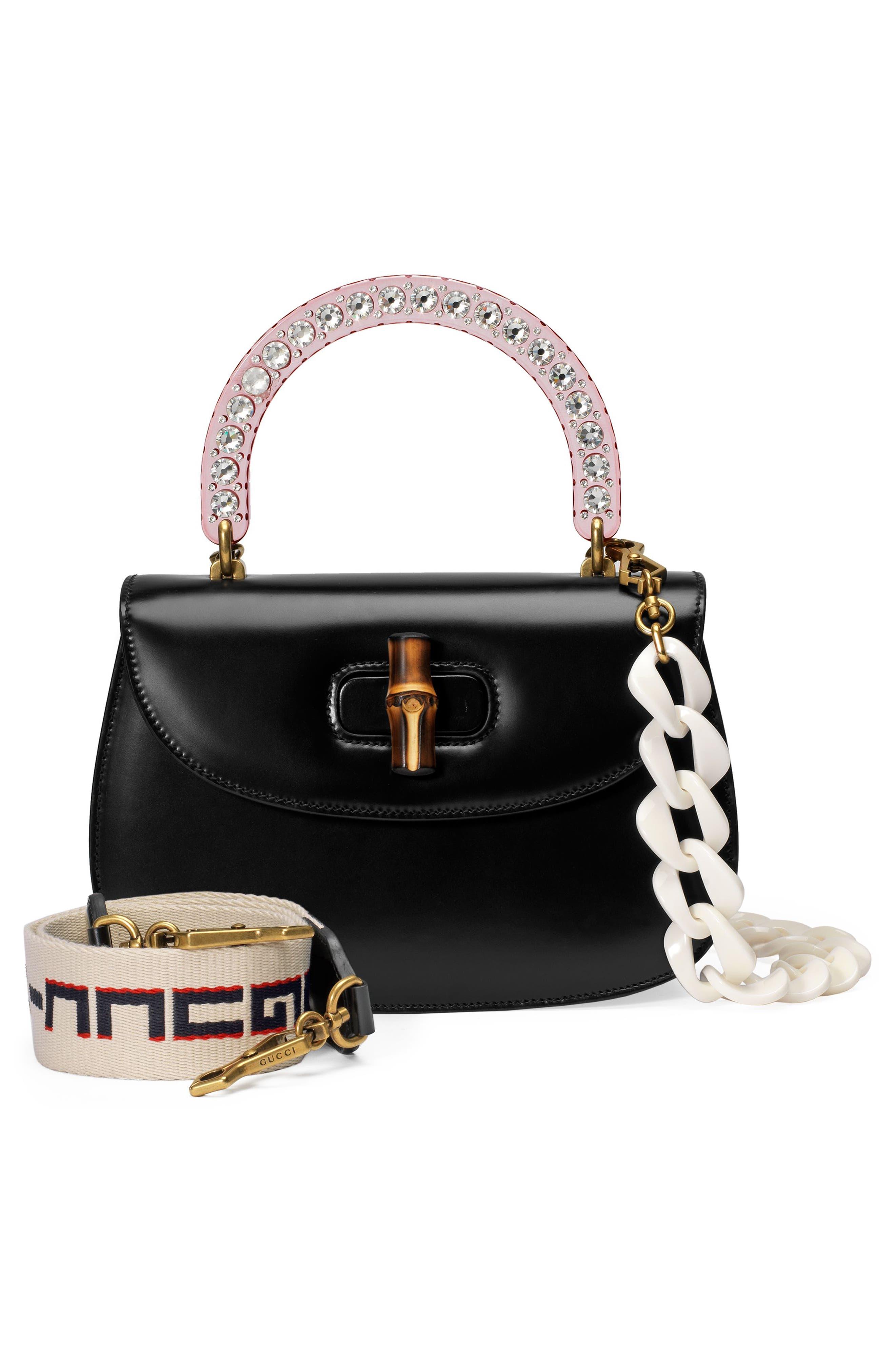 Medium Classic 2 Top Handle Shoulder Bag,                             Alternate thumbnail 4, color,                             NERO/ ROSE CRYSTAL