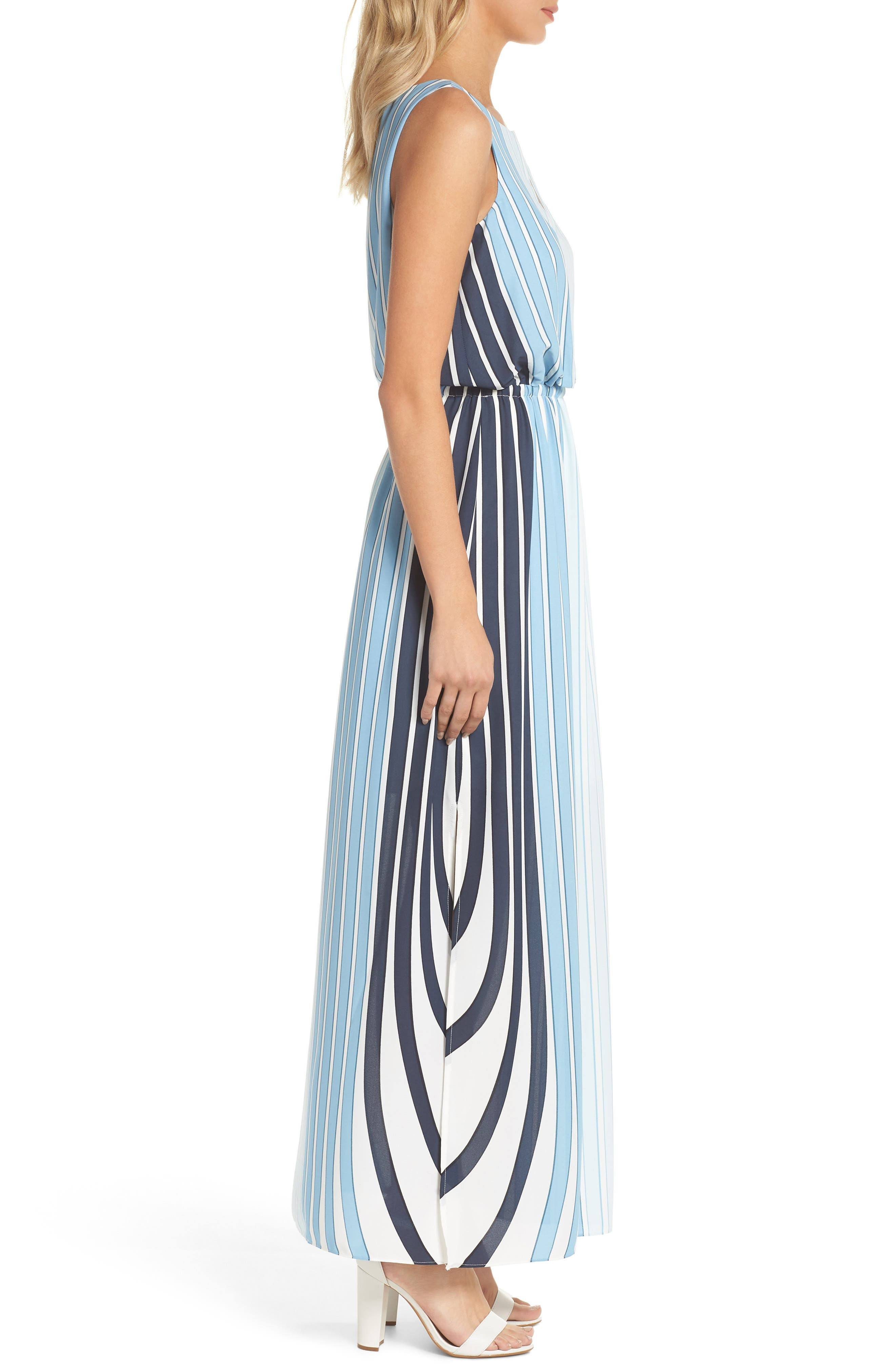 Stripe Maxi Dress,                             Alternate thumbnail 3, color,                             487