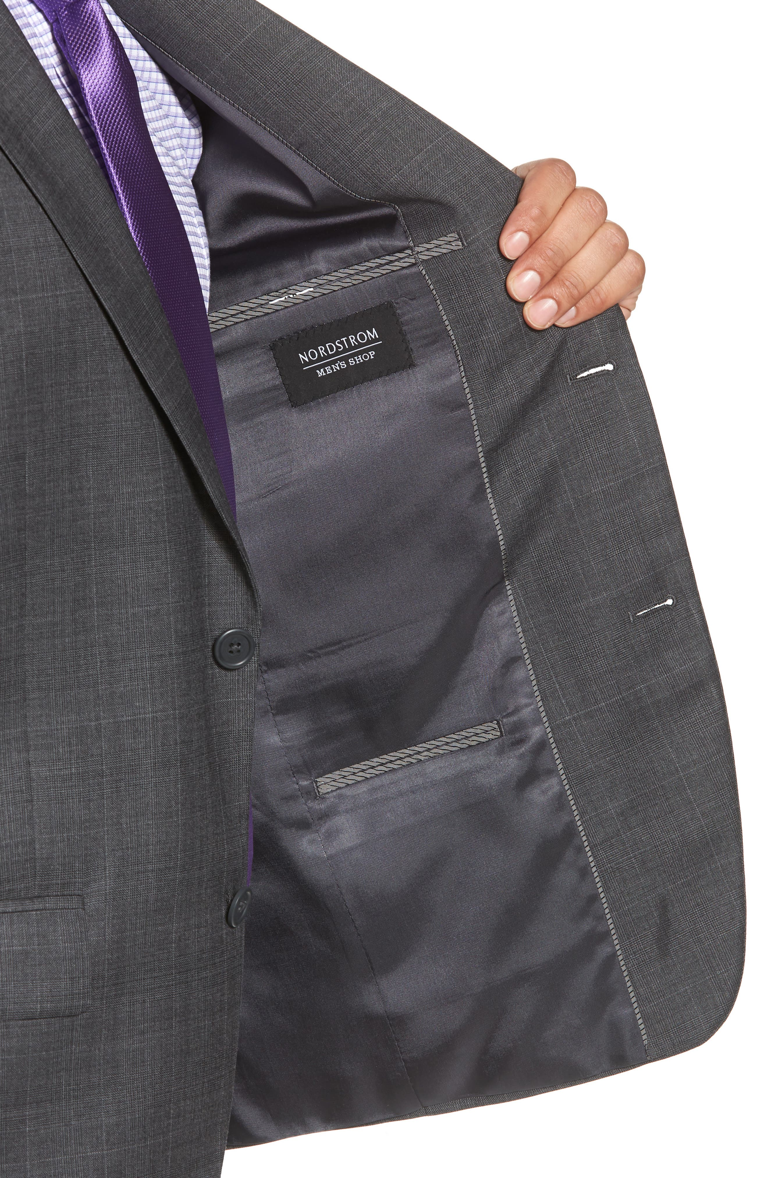 Trim Fit Plaid Wool Suit,                             Alternate thumbnail 4, color,                             010