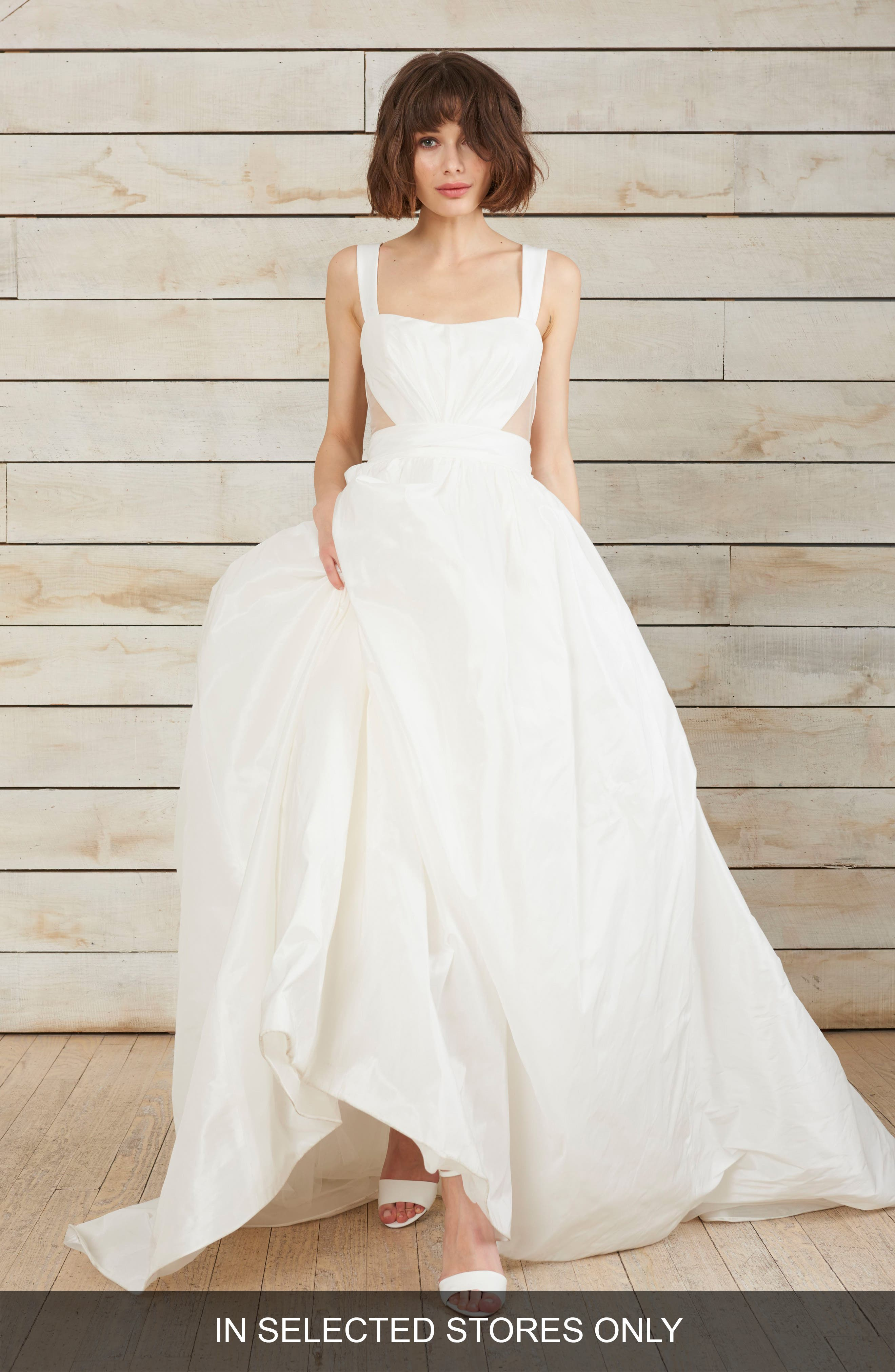 Nouvelle Amsale Cris Triangle Cutout Taffeta Ballgown, Size IN STORE ONLY - Ivory