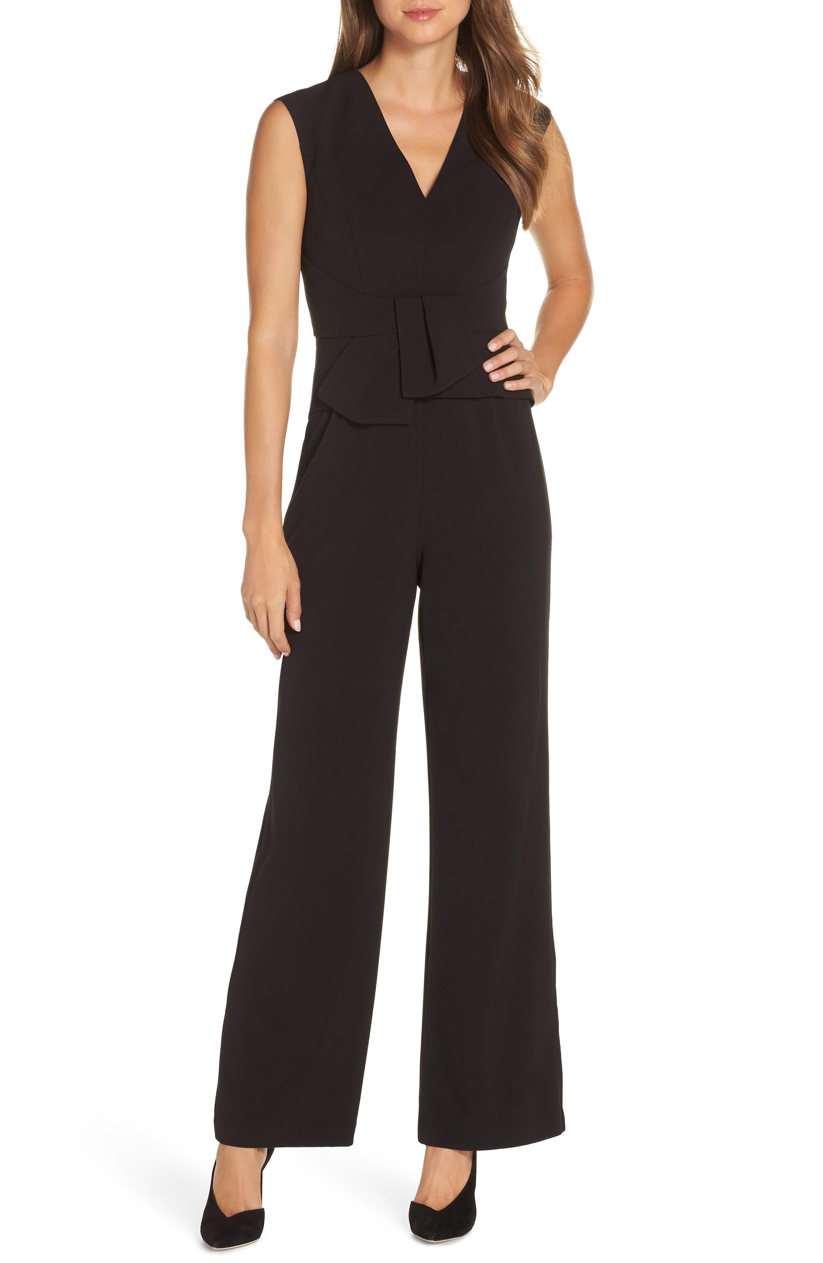 Peplum Jumpsuit,                         Main,                         color, BLACK