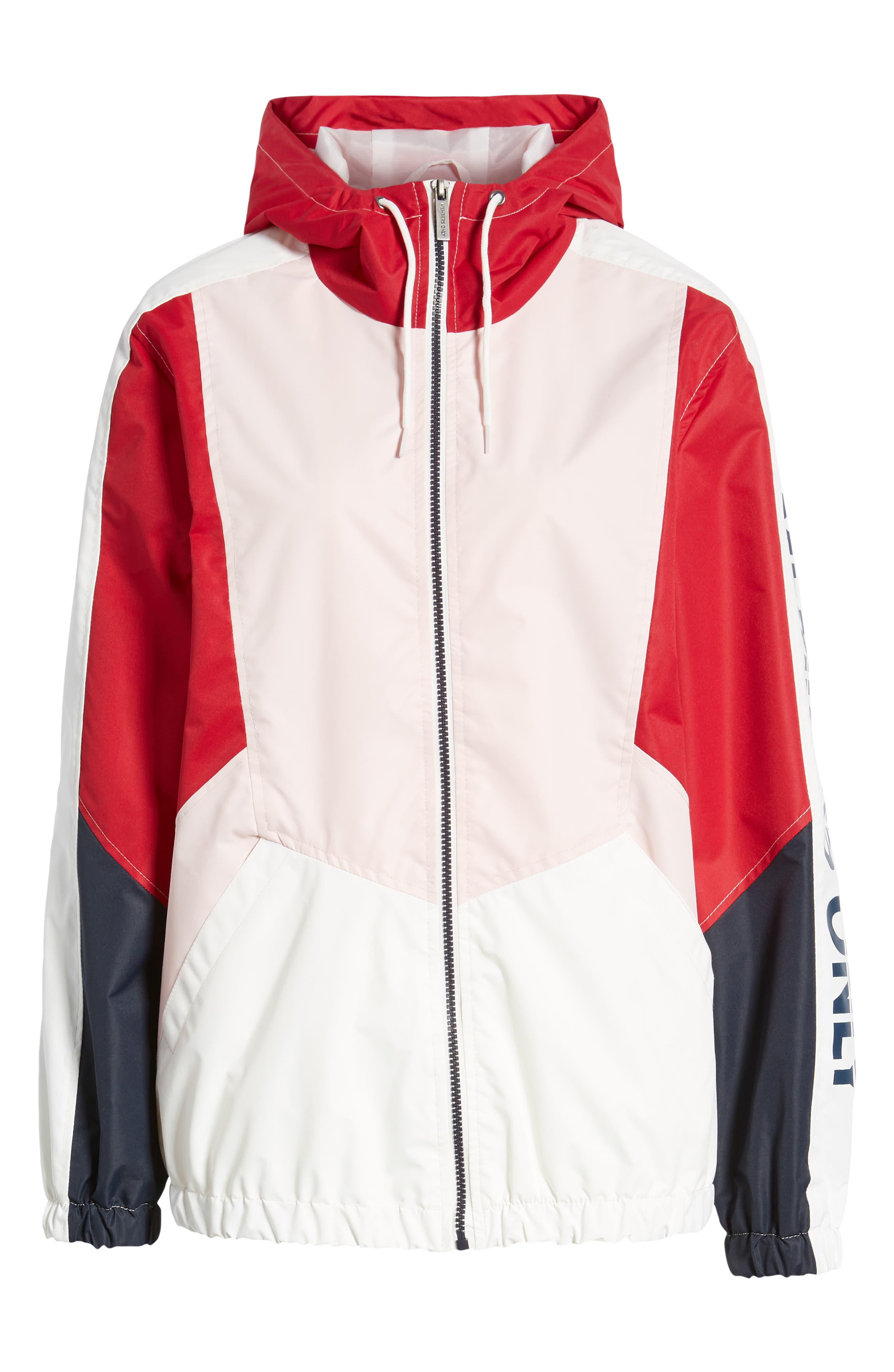 Retro Colorblock Bomber Jacket,                             Alternate thumbnail 6, color,                             PINK-RED
