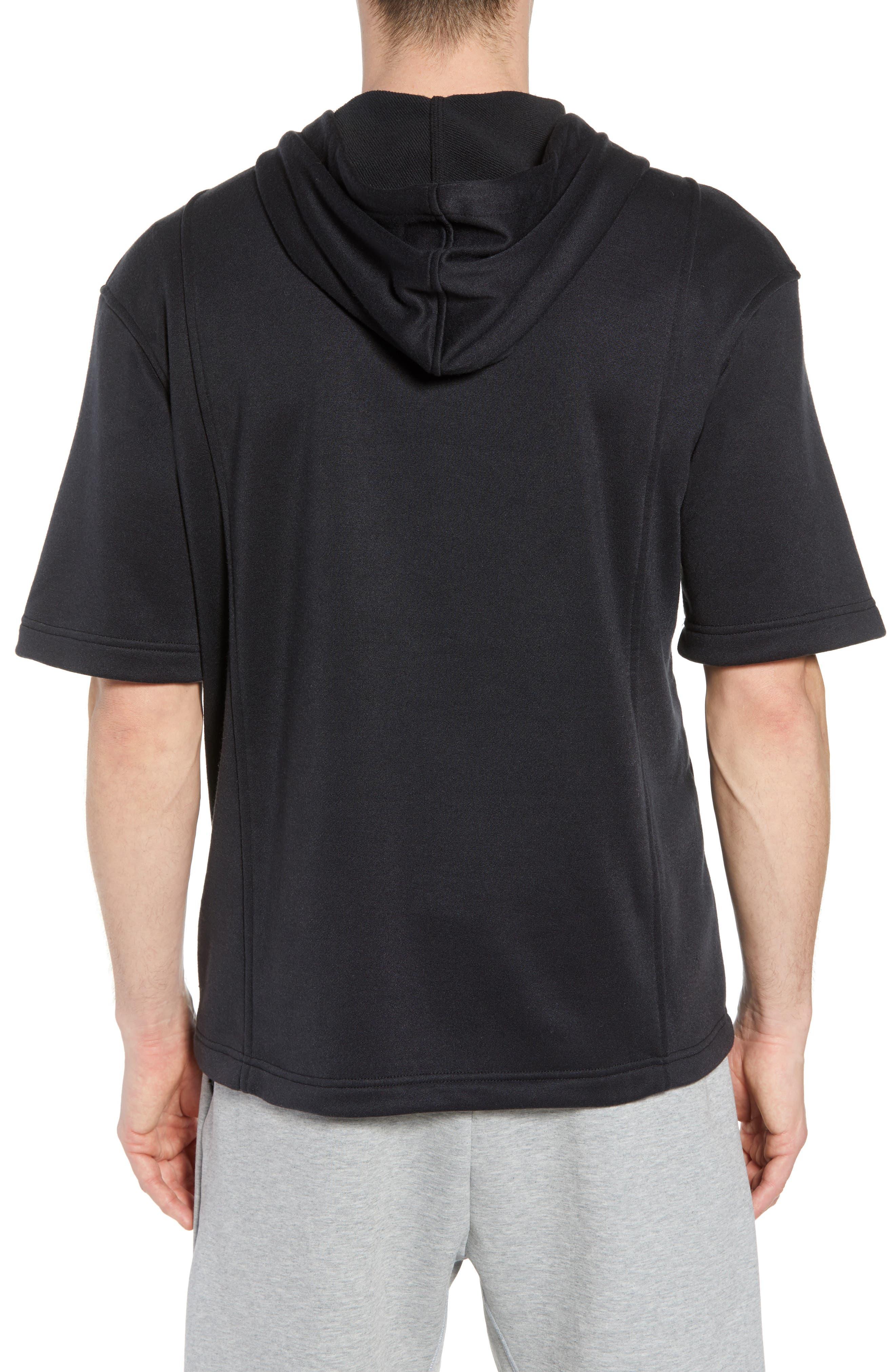 Nike Air Jordon Short Sleeve Basketball Hoodie,                             Alternate thumbnail 2, color,                             BLACK/ WHITE
