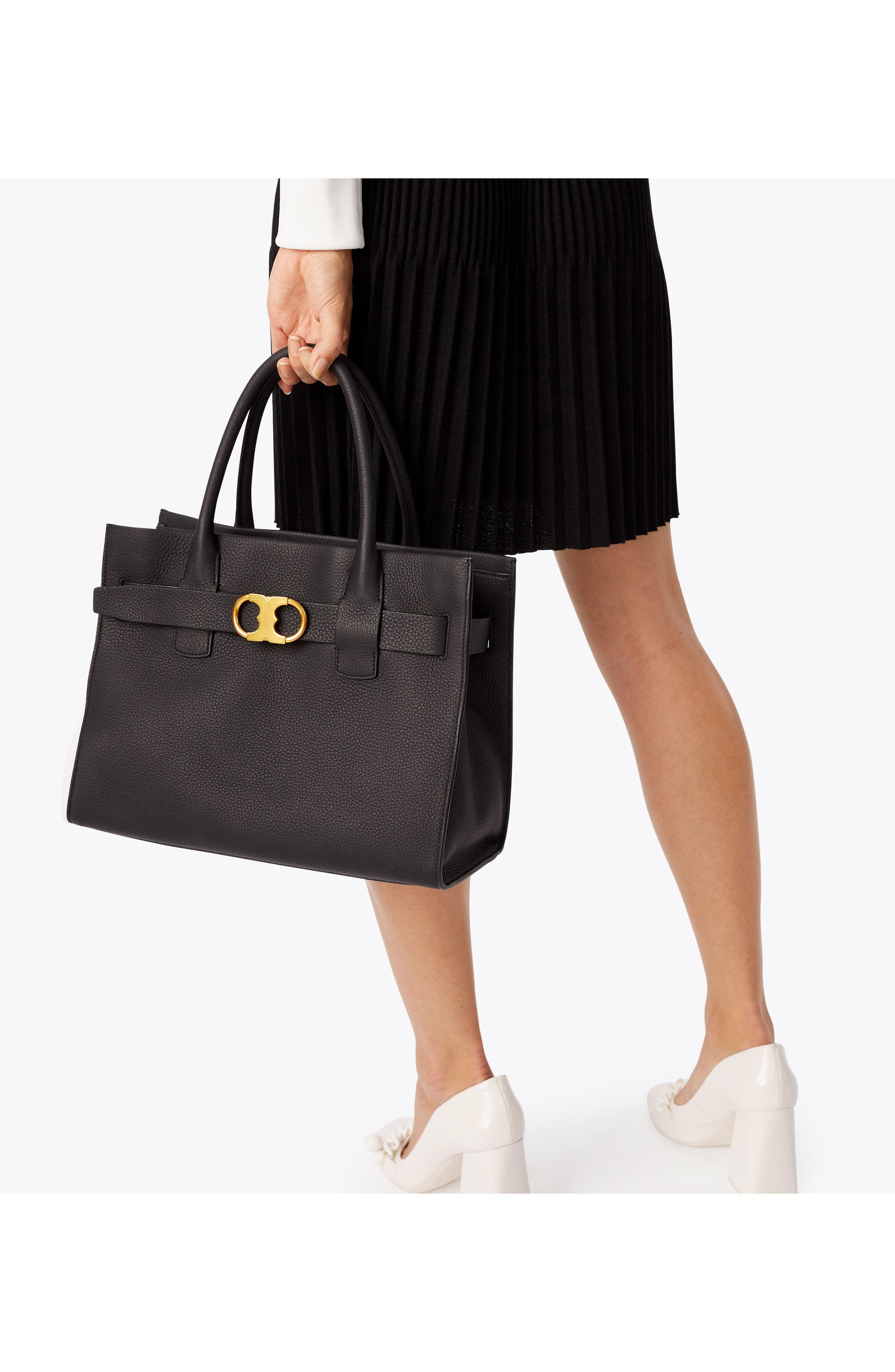 TORY BURCH,                             Gemini Link Leather Tote,                             Alternate thumbnail 8, color,                             001
