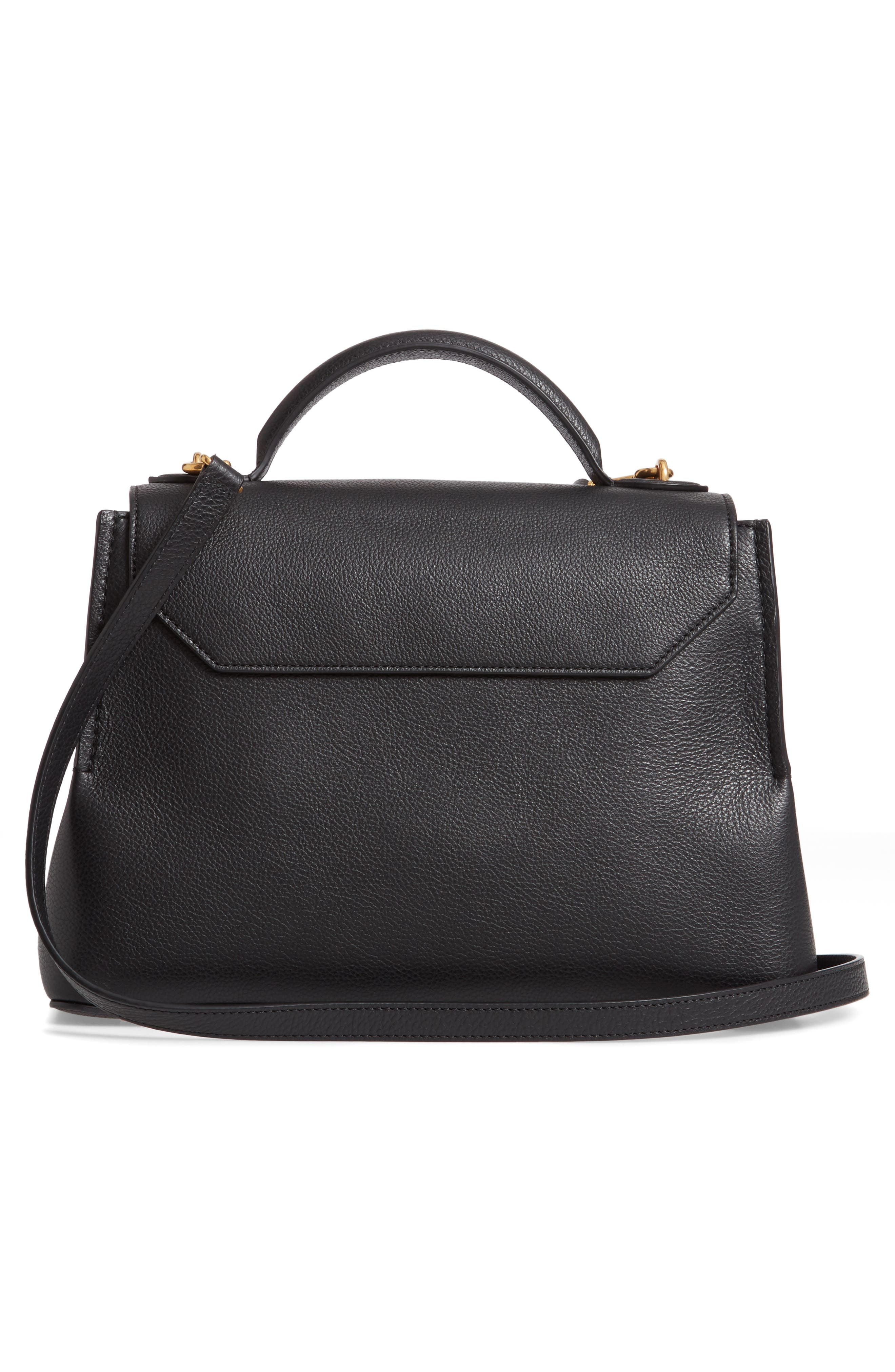 MULBERRY,                             Small Seaton Leather Top Handle Satchel,                             Alternate thumbnail 3, color,                             BLACK