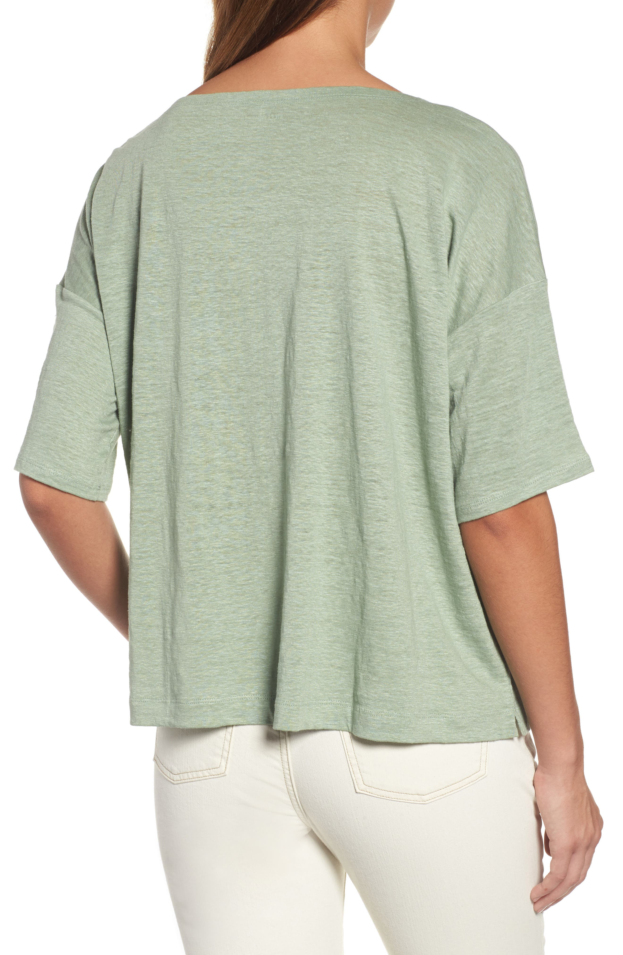 Organic Linen Jersey Boxy Top,                             Alternate thumbnail 11, color,
