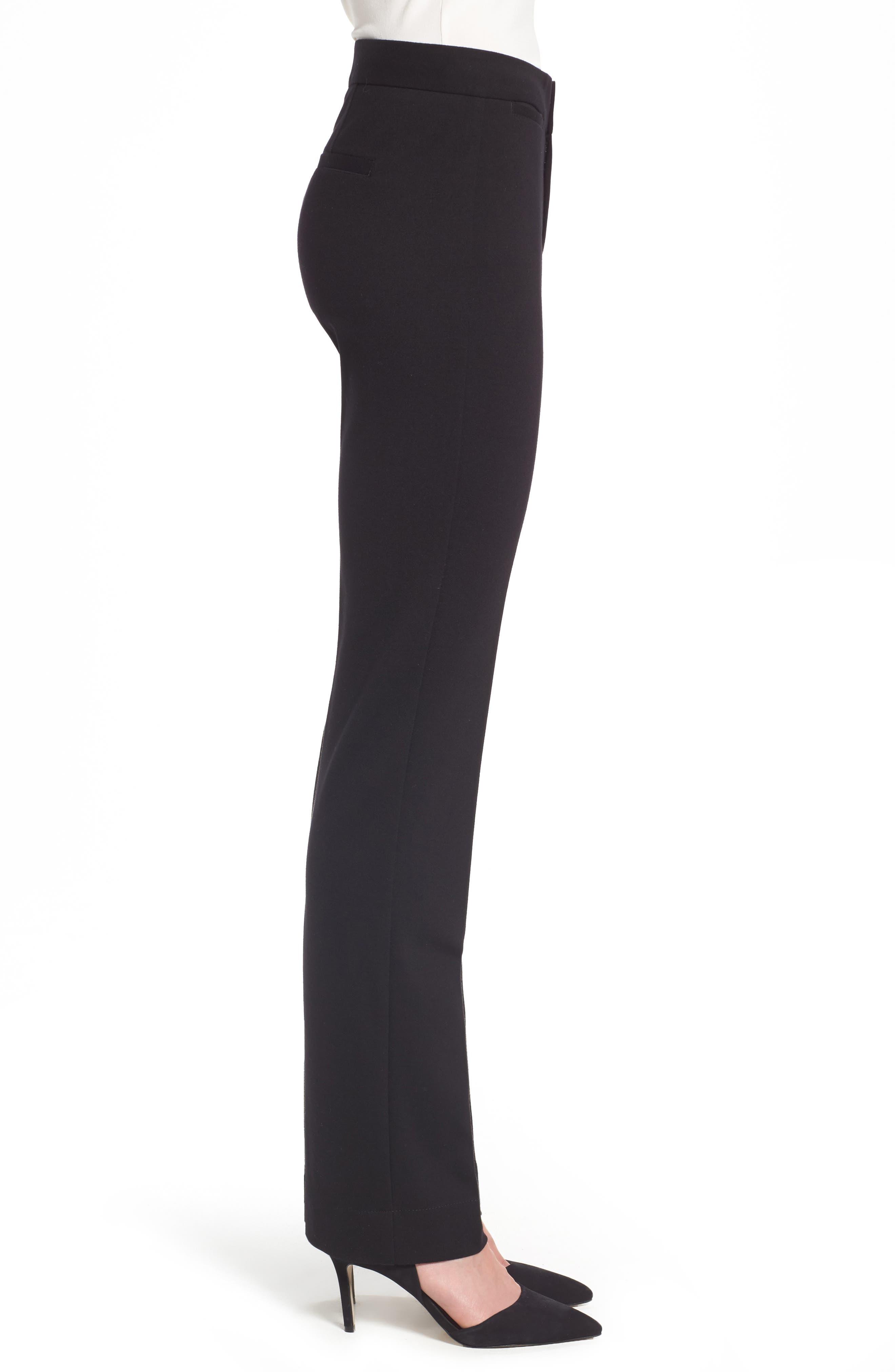 Stretch Knit Trousers,                             Alternate thumbnail 3, color,                             BLACK