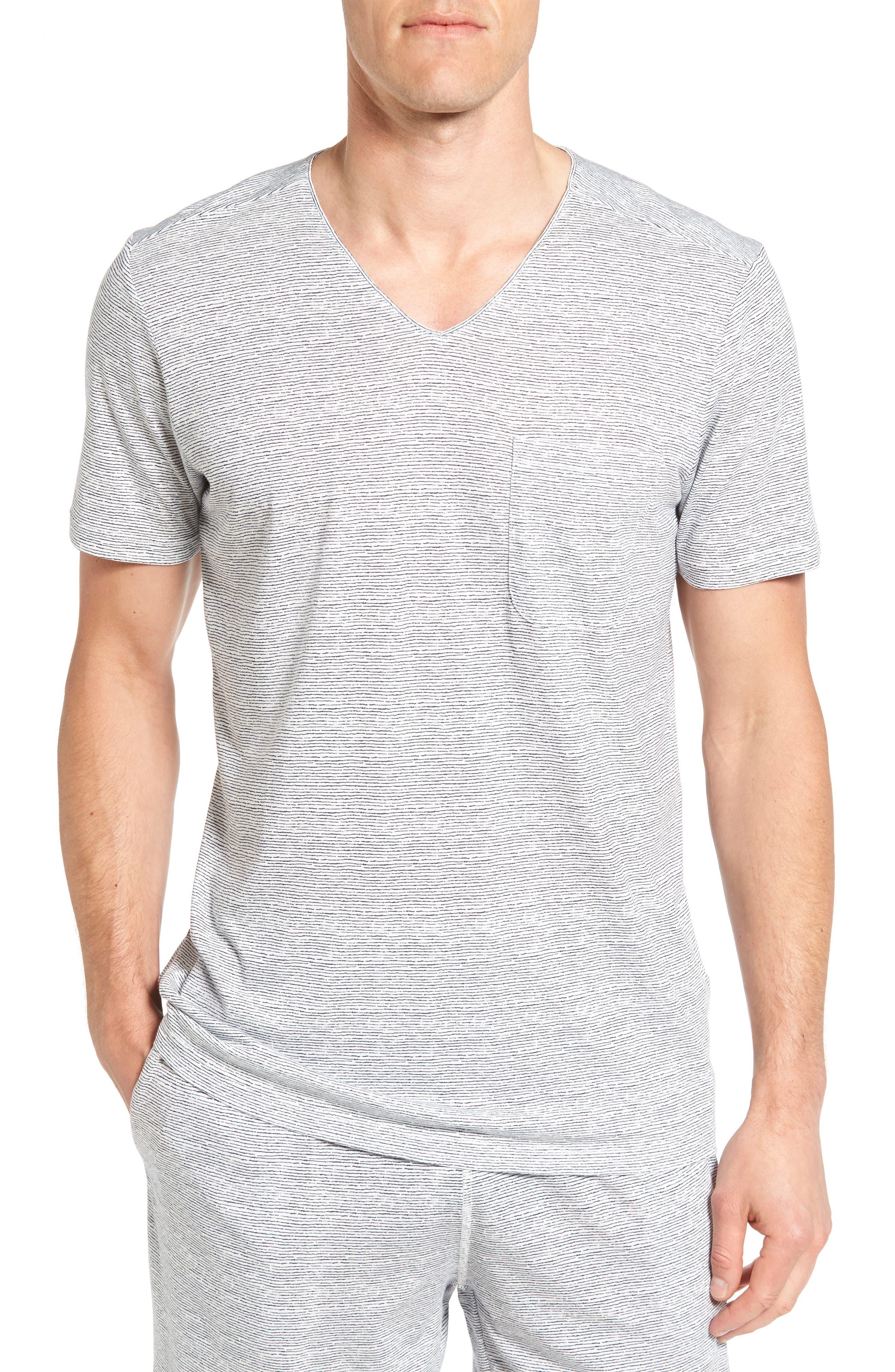 Feeder Stripe Pima Cotton & Modal V-Neck T-Shirt,                             Main thumbnail 2, color,