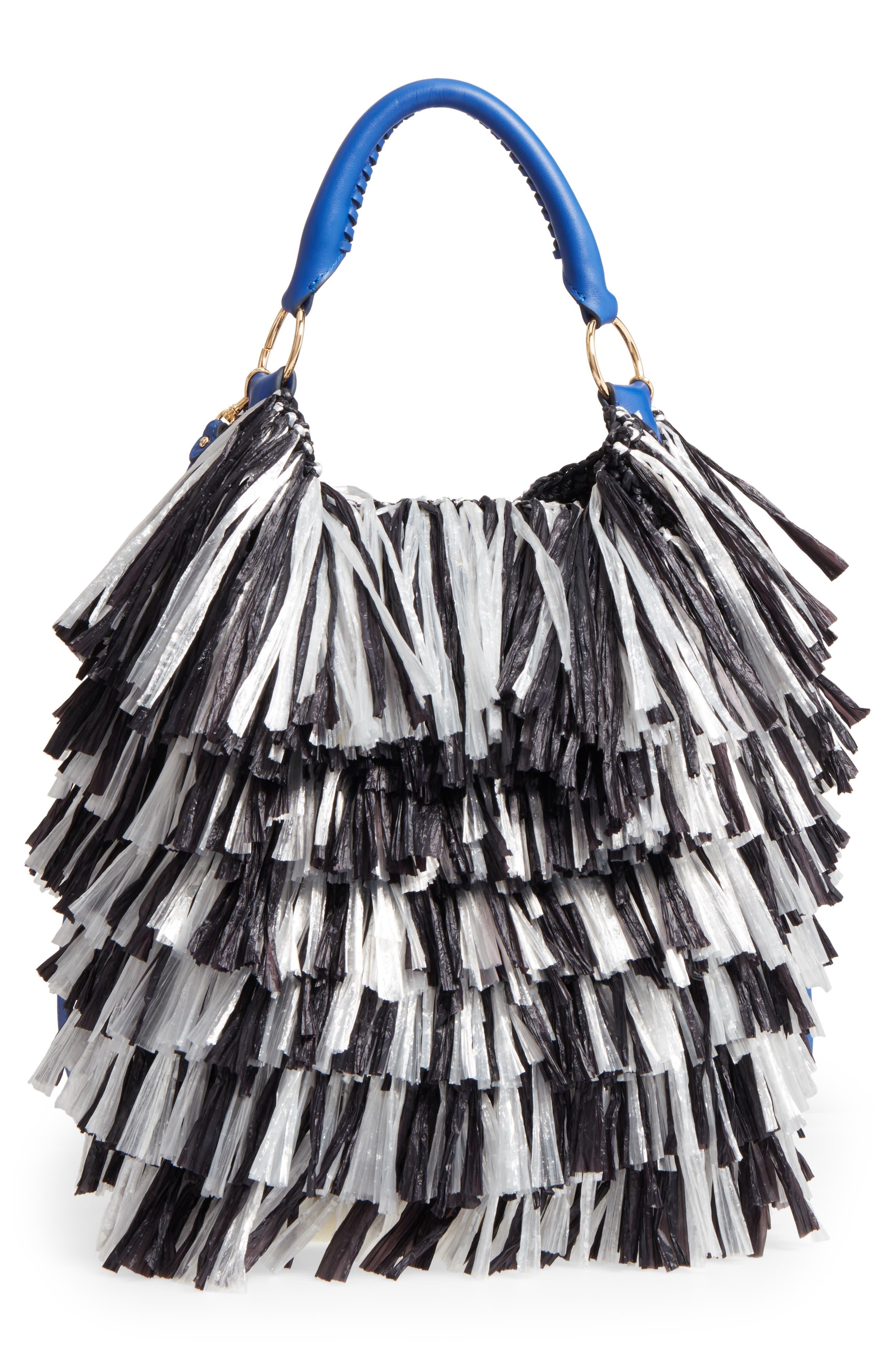 Raffia Fringe Bucket Bag,                         Main,                         color, 001