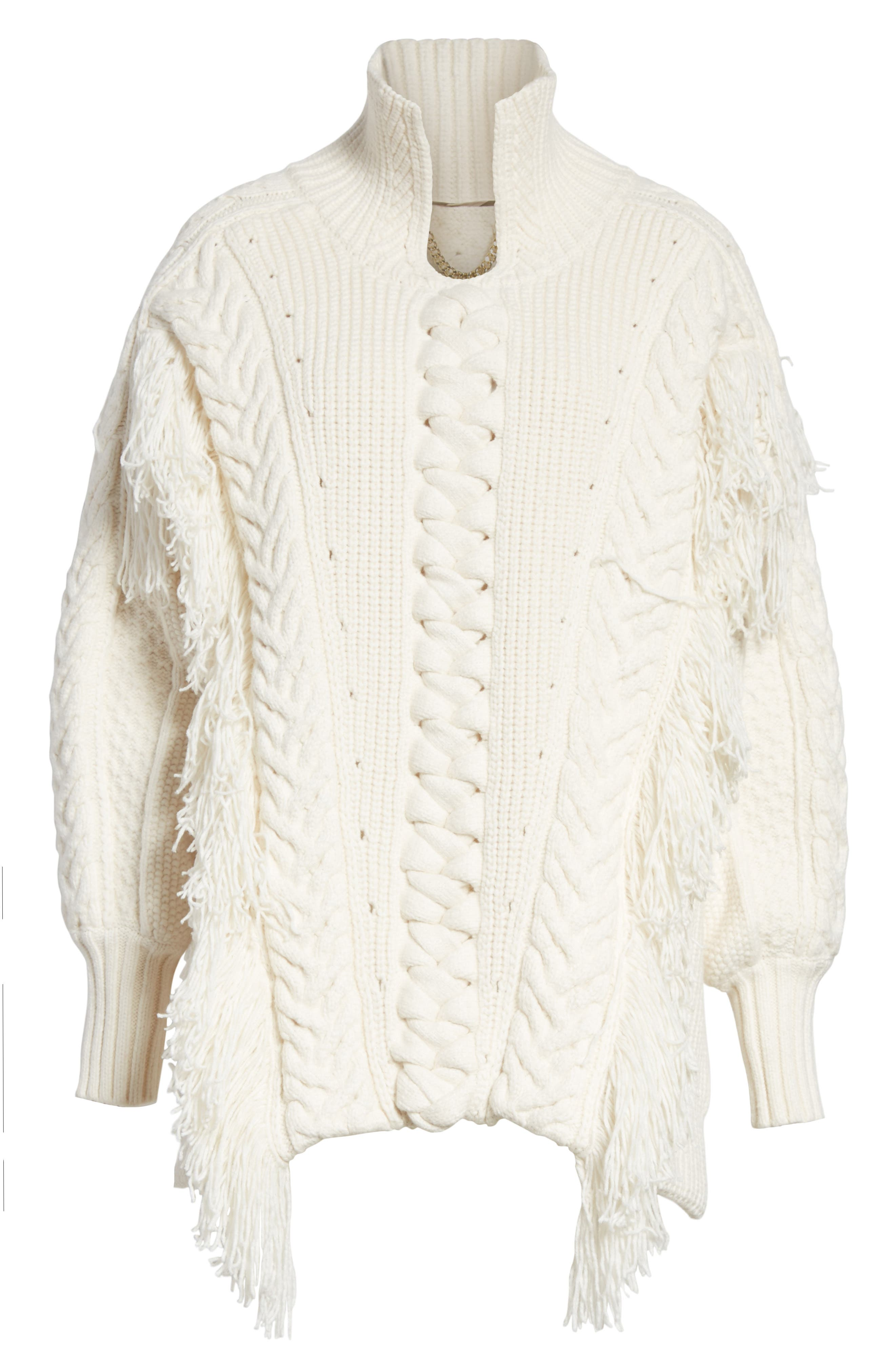 Borbore Fringed Cable Knit Sweater,                             Alternate thumbnail 6, color,                             103