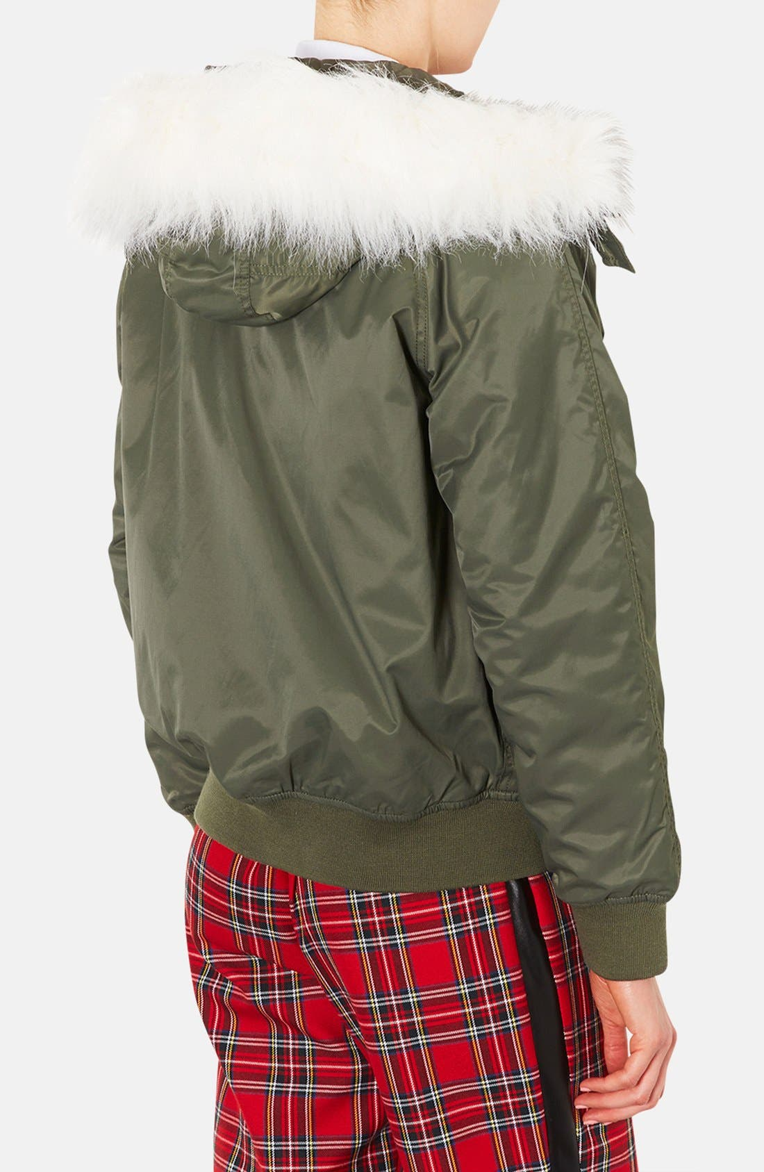 Hooded Bomber Jacket with Faux Fur Trim,                             Alternate thumbnail 3, color,                             310