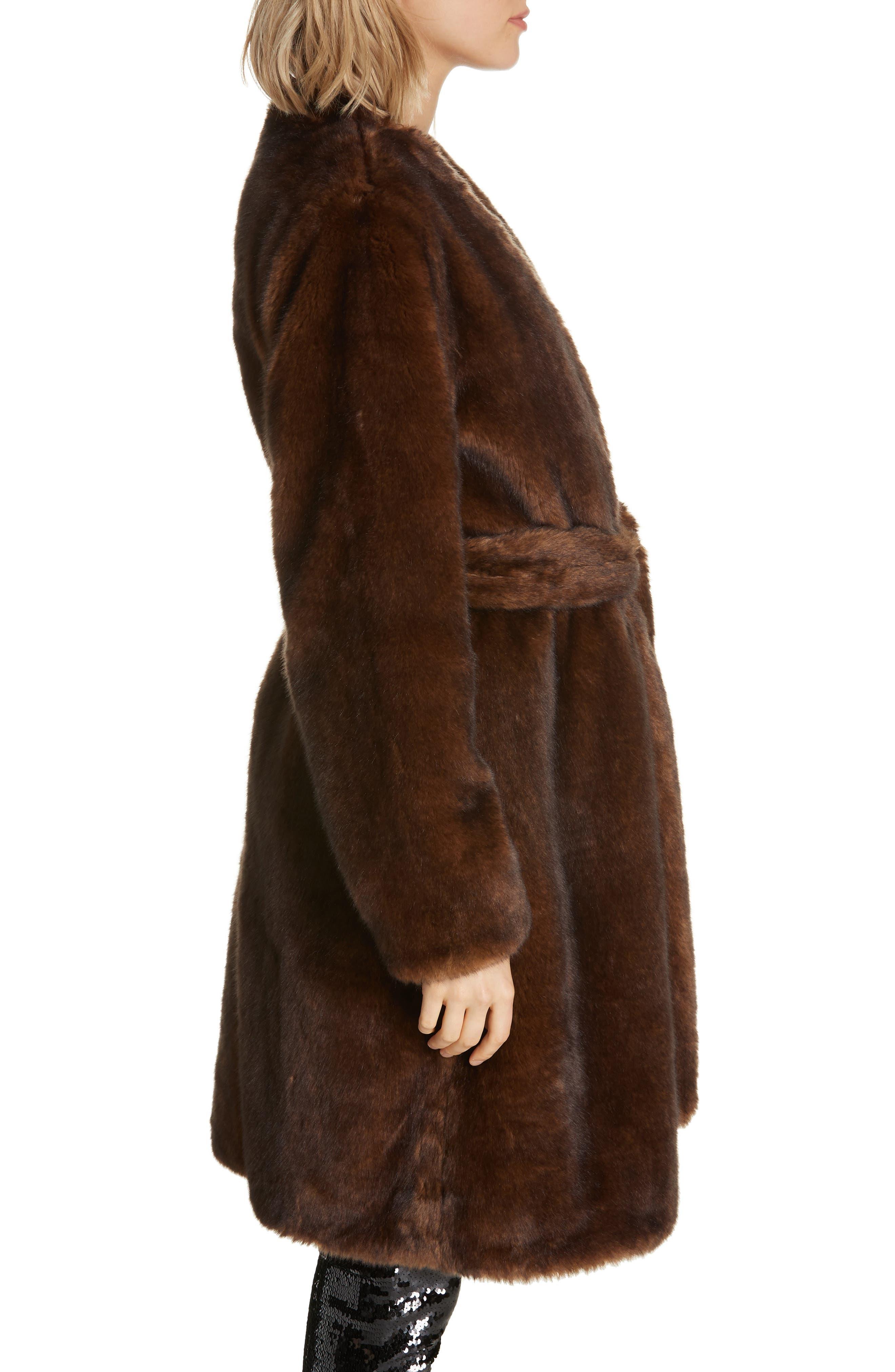 FRAME,                             Faux Mink Fur Robe Coat,                             Alternate thumbnail 3, color,                             201