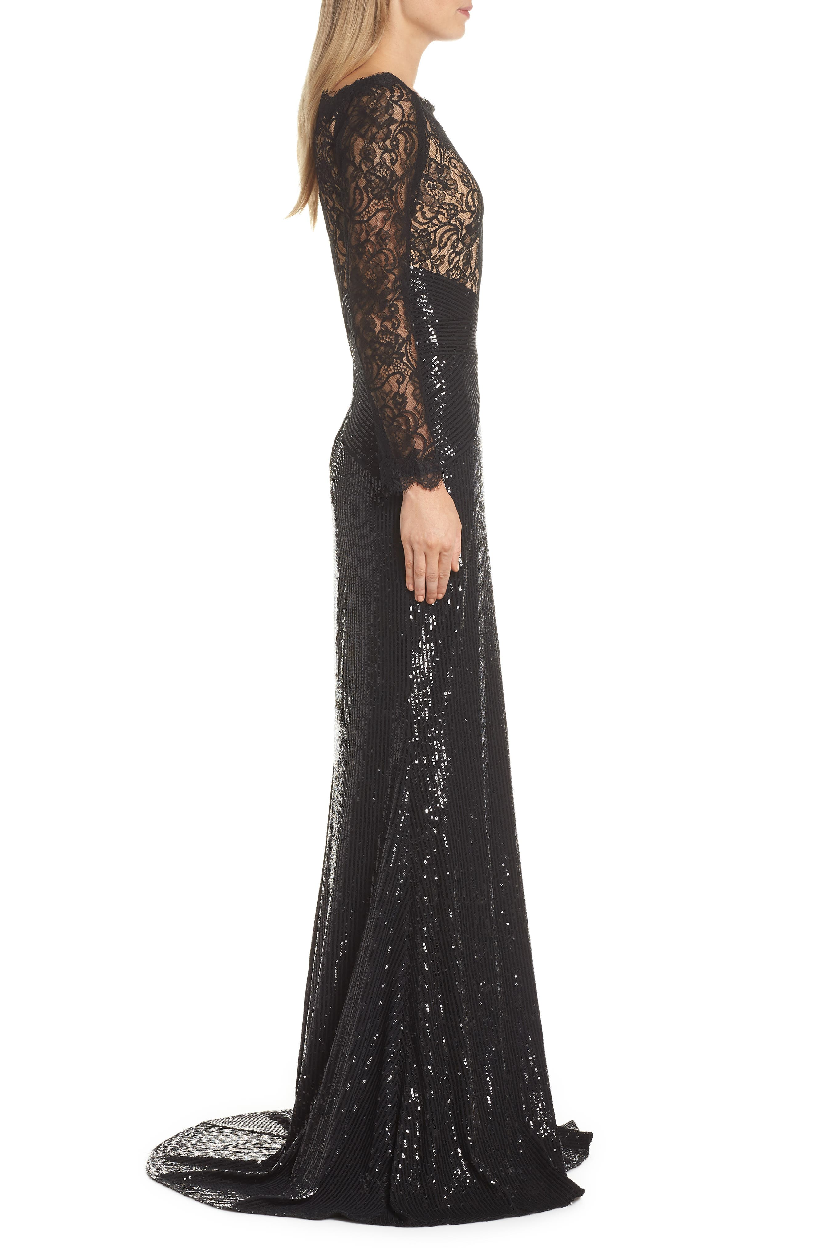 Lace & Sequin Gown,                             Alternate thumbnail 3, color,                             BLACK/ NUDE
