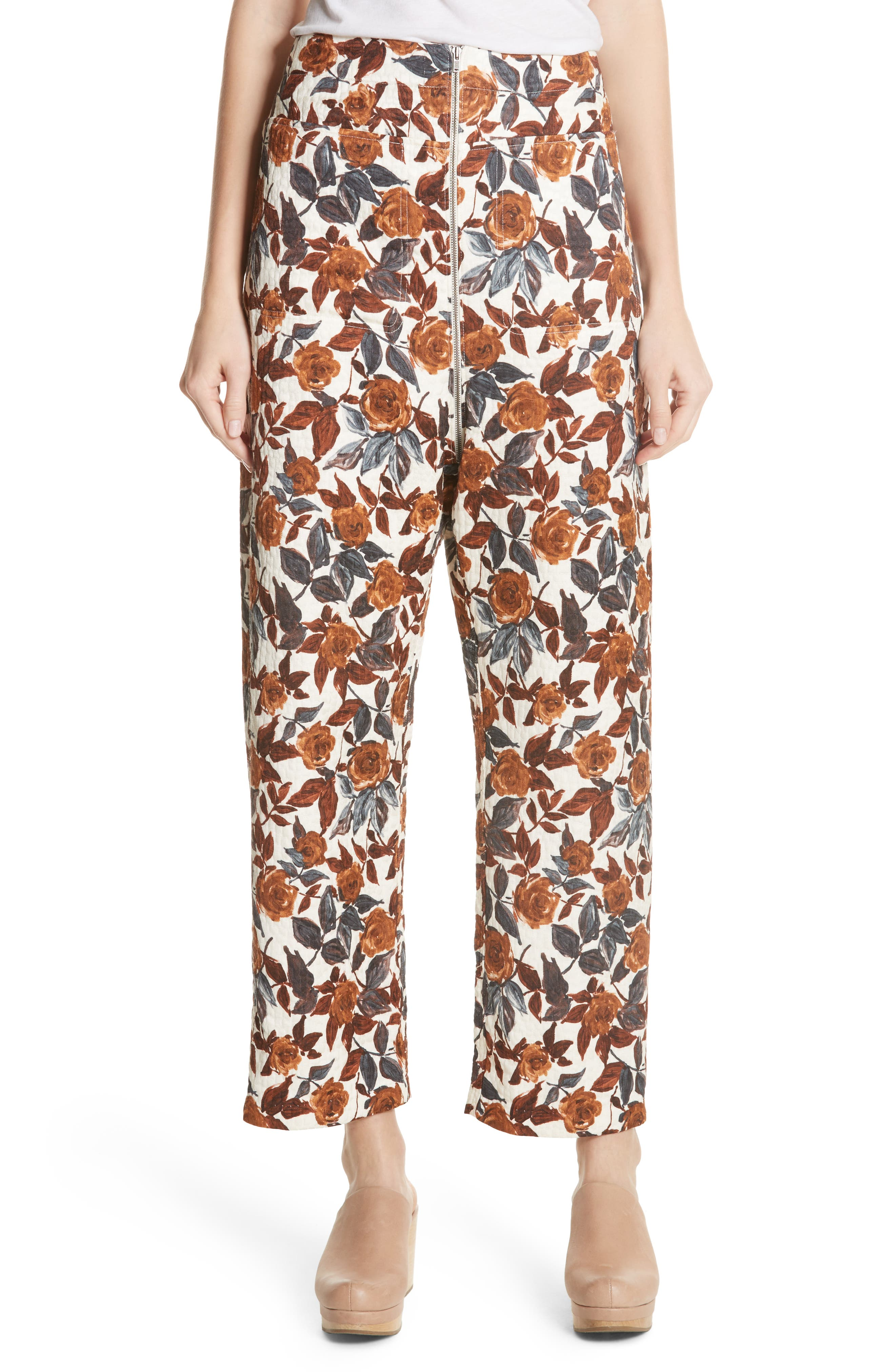Barrie Floral Print Pants,                             Main thumbnail 1, color,                             BROWN