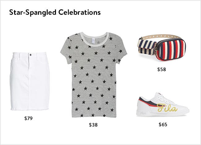 Star-spangled celebrations: women's fourth of July clothing, accessories, shoes and more.