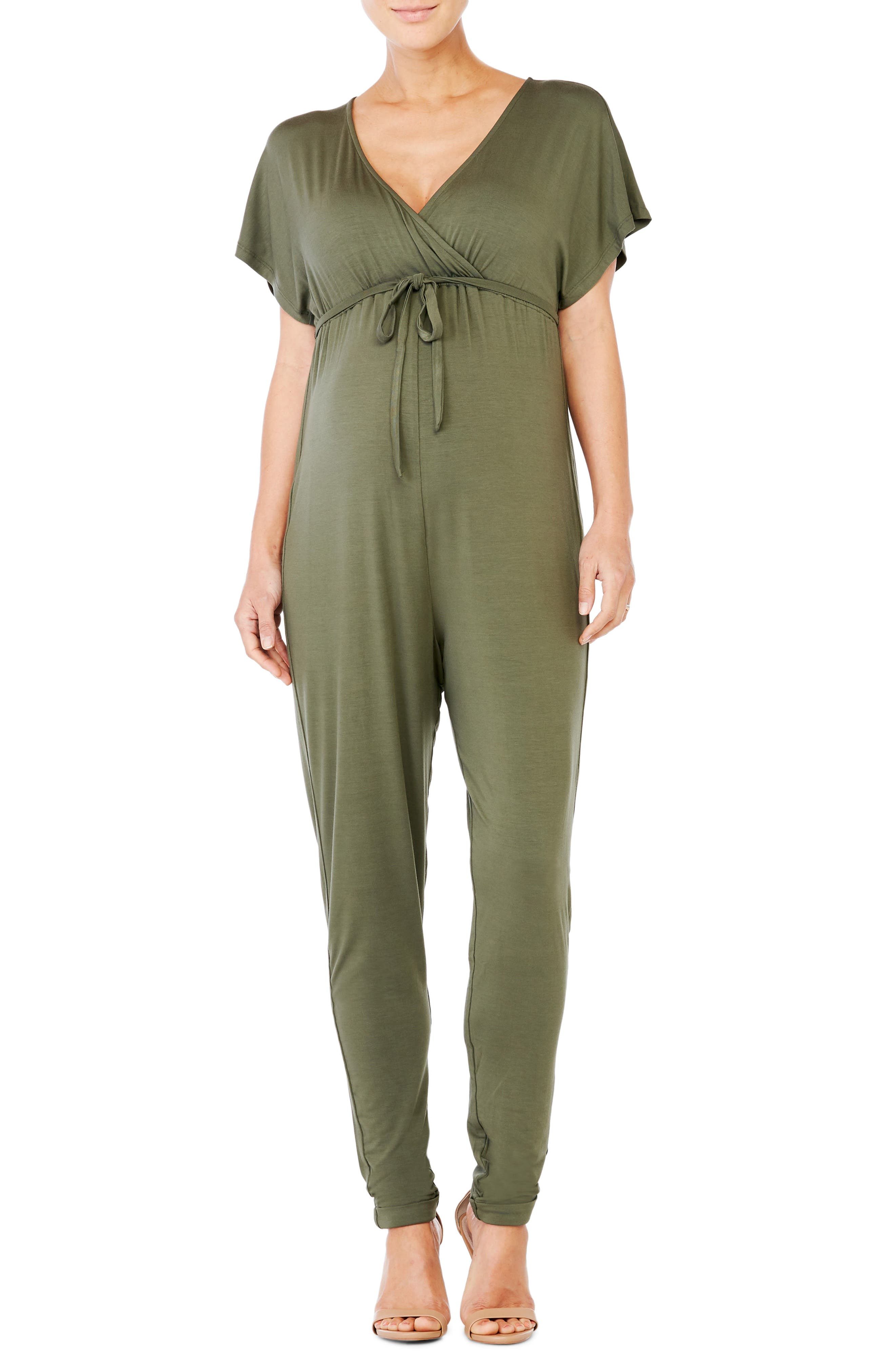 Crossover Maternity Jumpsuit,                         Main,                         color, OLIVE