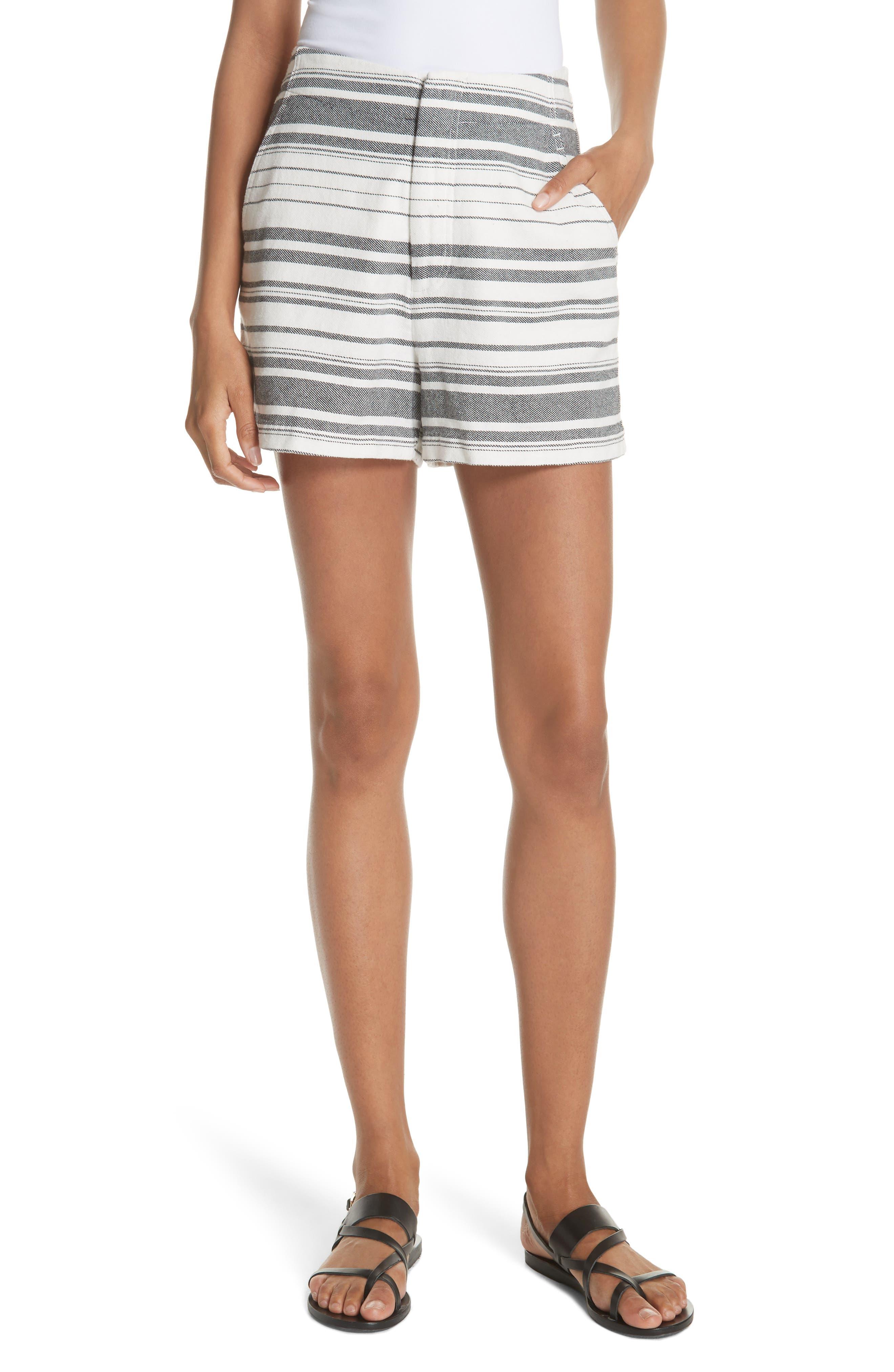 Brusha Stripe Cotton Twill Shorts,                         Main,                         color, CAVIAR