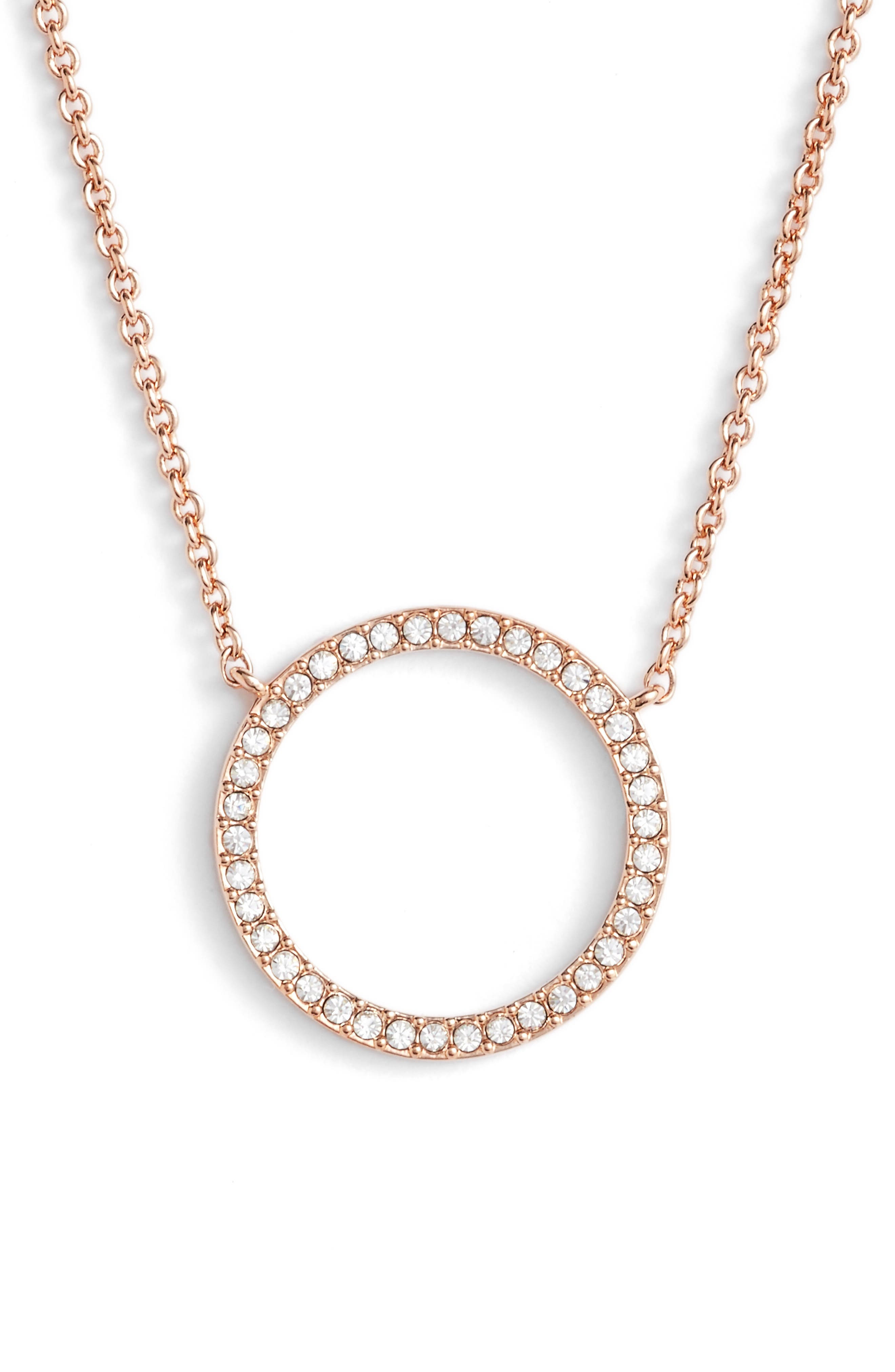 Openwork Crystal Pendant Necklace,                             Main thumbnail 1, color,                             ROSE GOLD