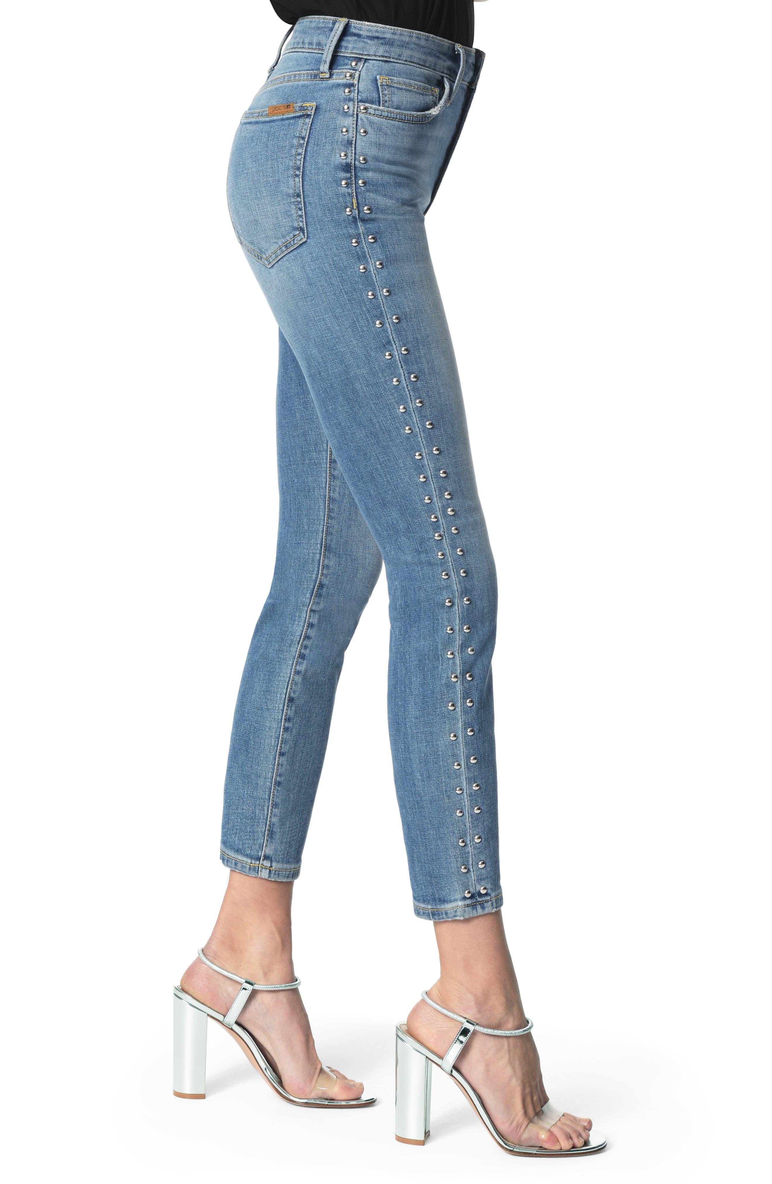 Charlie Stud Seam High Waist Ankle Skinny Jeans,                             Alternate thumbnail 3, color,                             ORA
