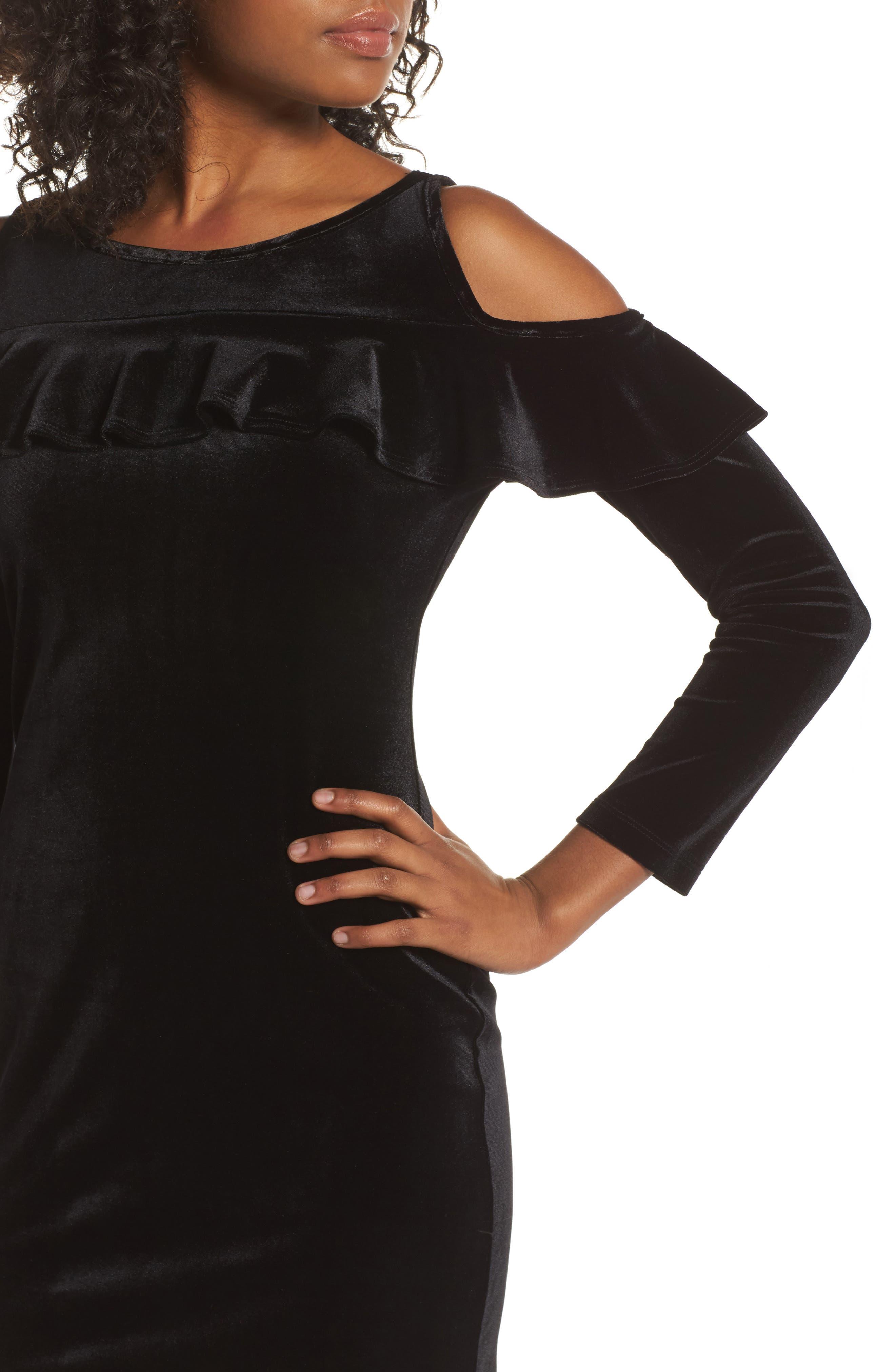 Cold Shoulder Velvet Sheath Dress,                             Alternate thumbnail 4, color,                             001
