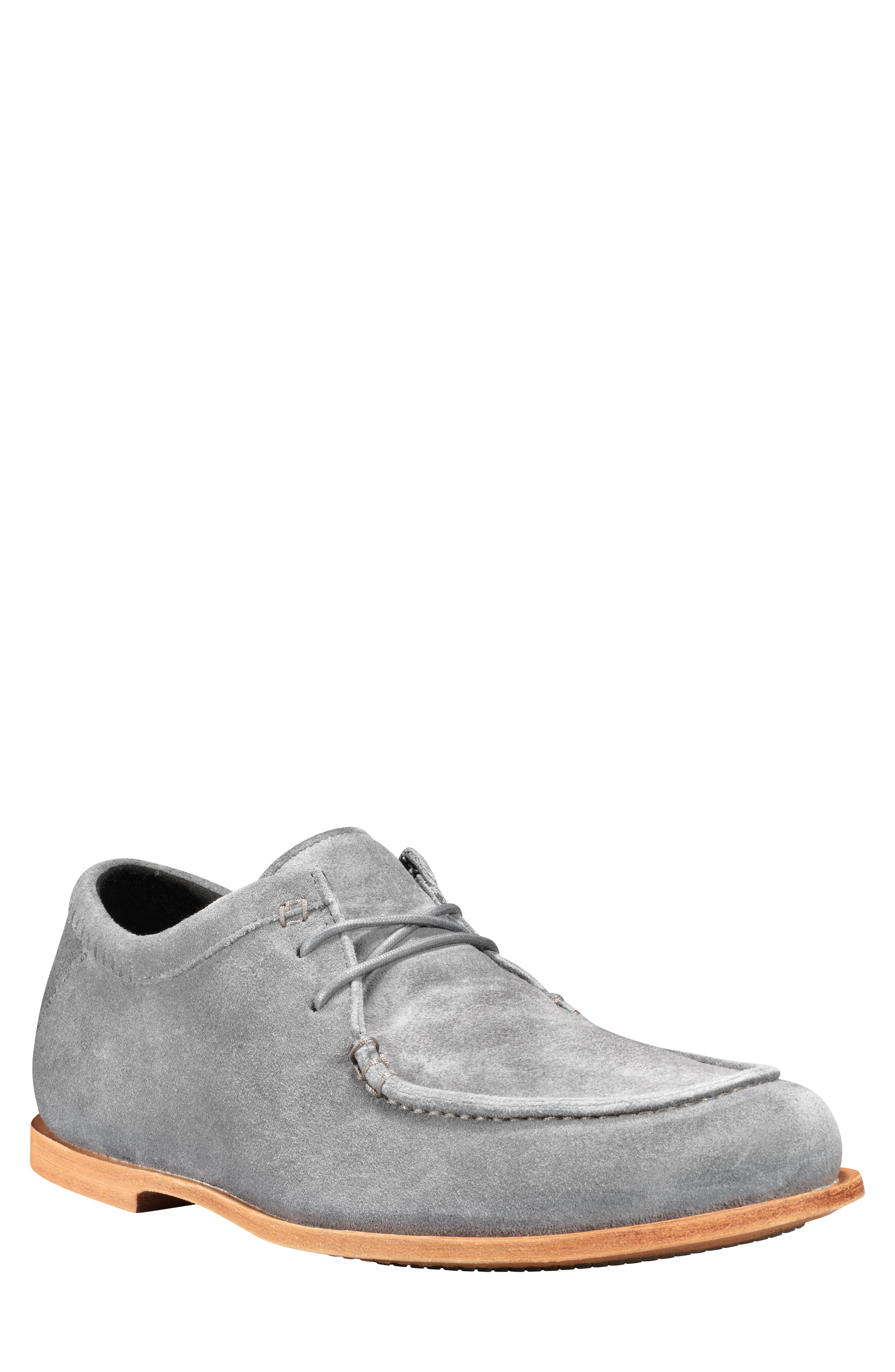 Tauk Point Moc Toe Derby,                             Main thumbnail 1, color,                             GREY SUEDE