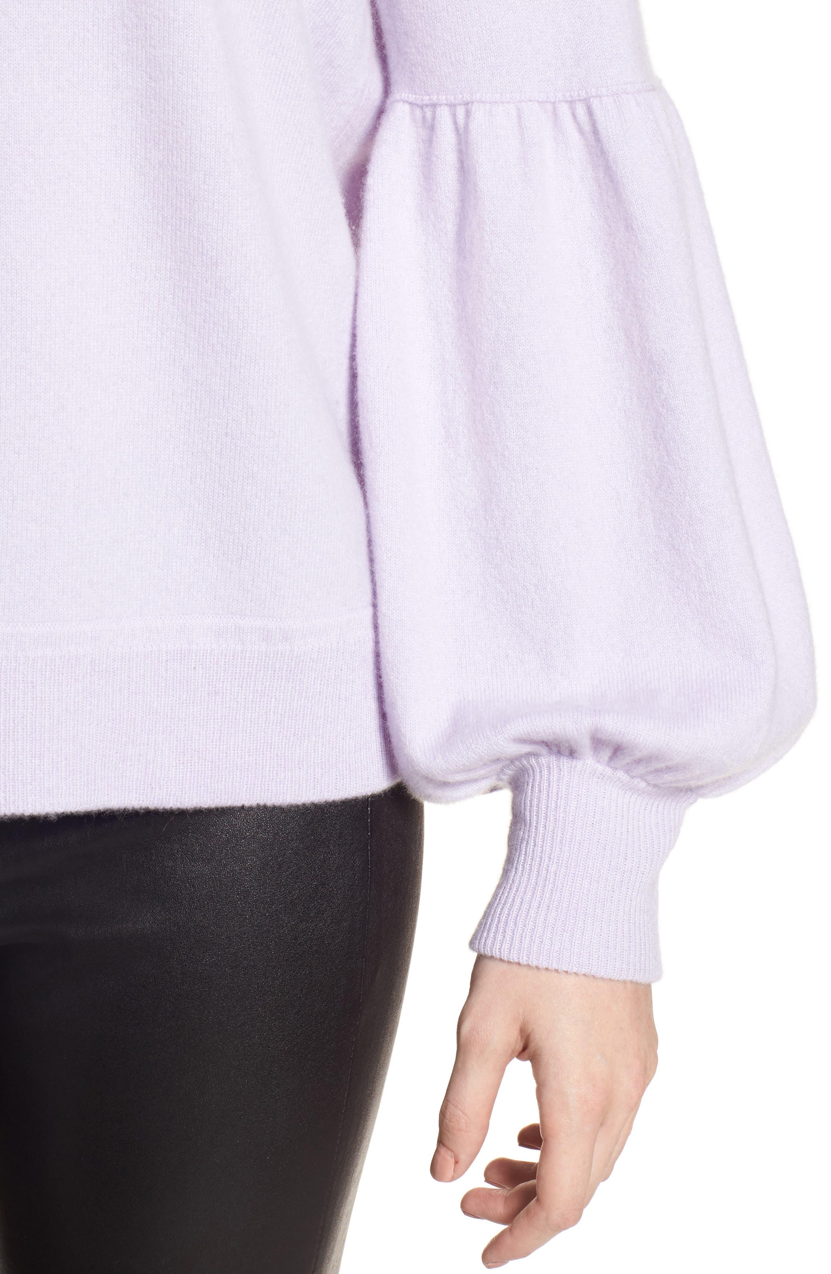 Blouson Sleeve Cashmere Blend Sweater,                             Alternate thumbnail 4, color,