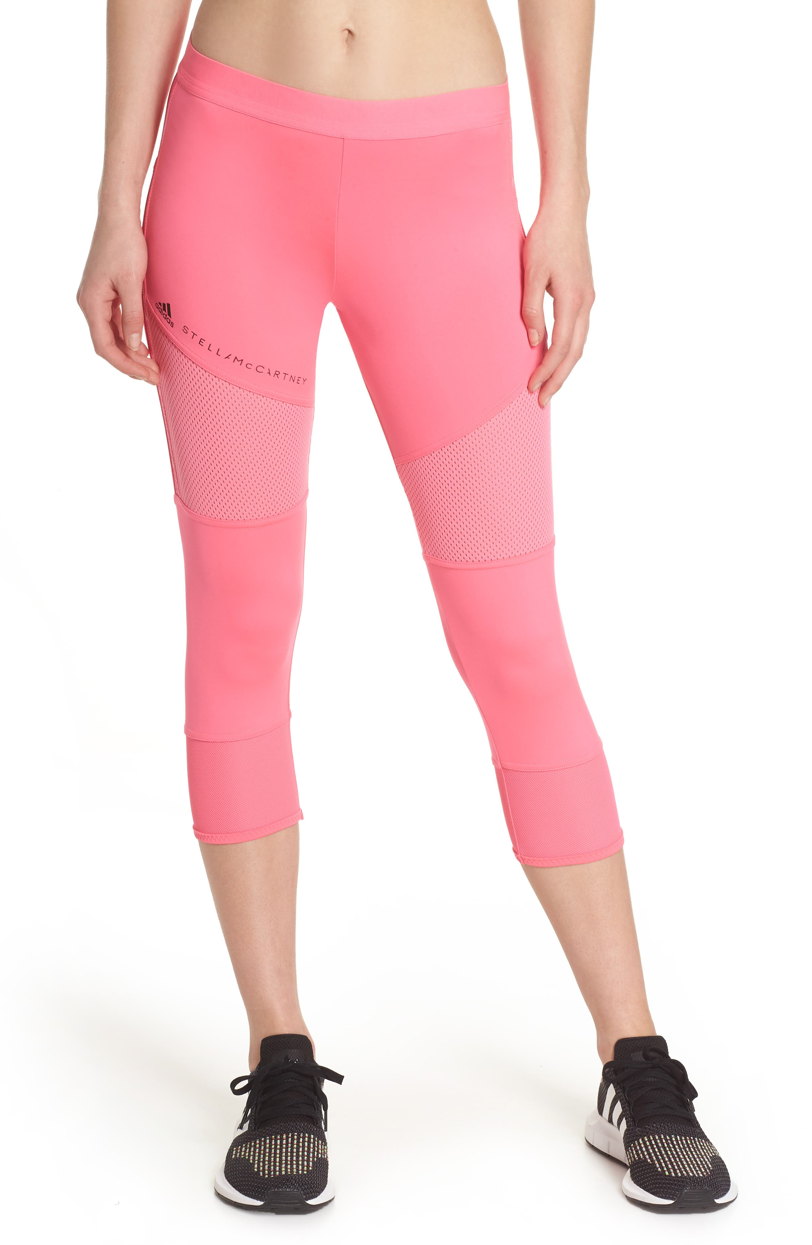 Performance Essentials Crop Leggings,                         Main,                         color, SOLAR PINK