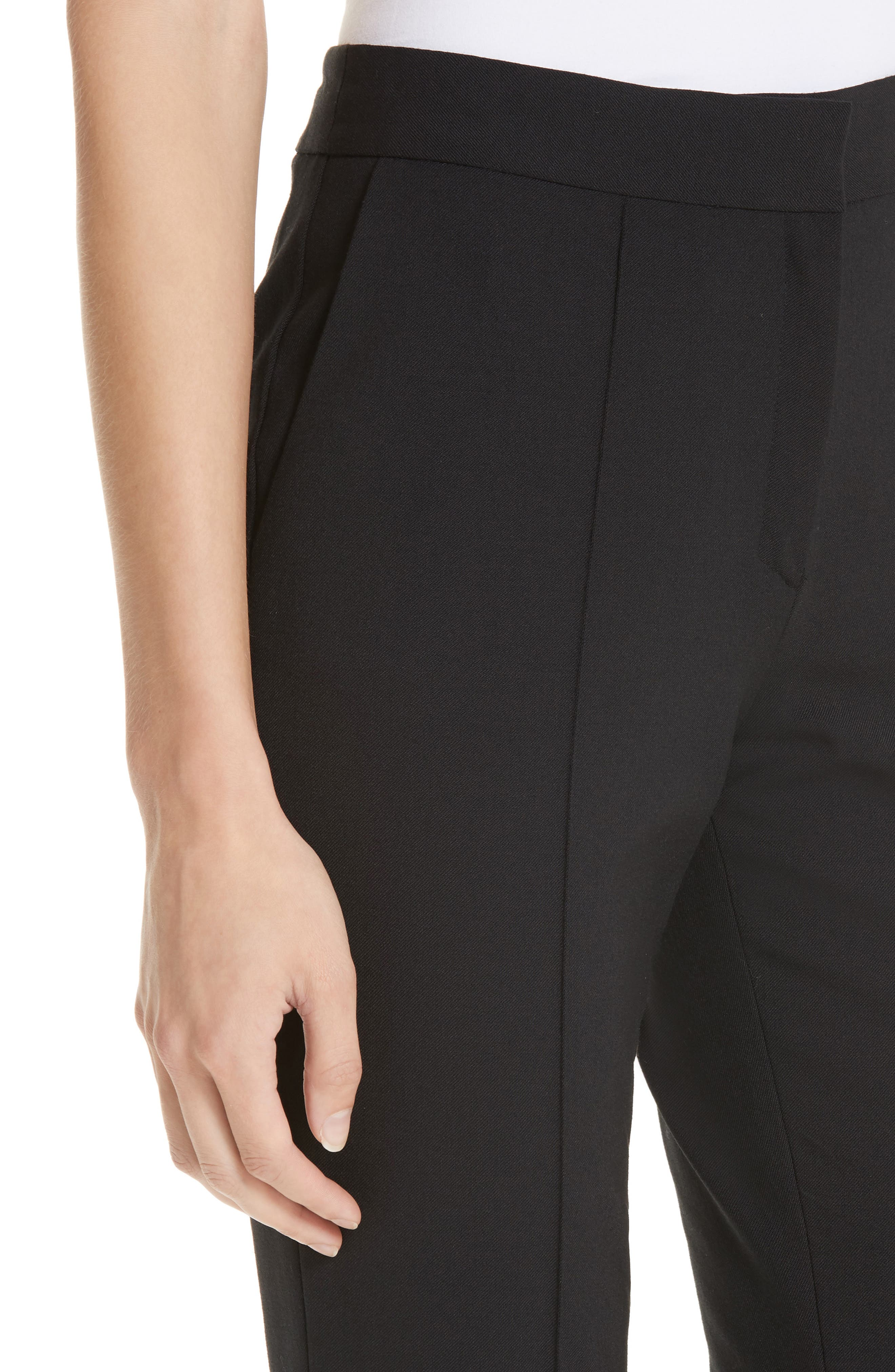 Pintucked Stretch Wool Blend Slim Trousers,                             Alternate thumbnail 4, color,                             BLACK