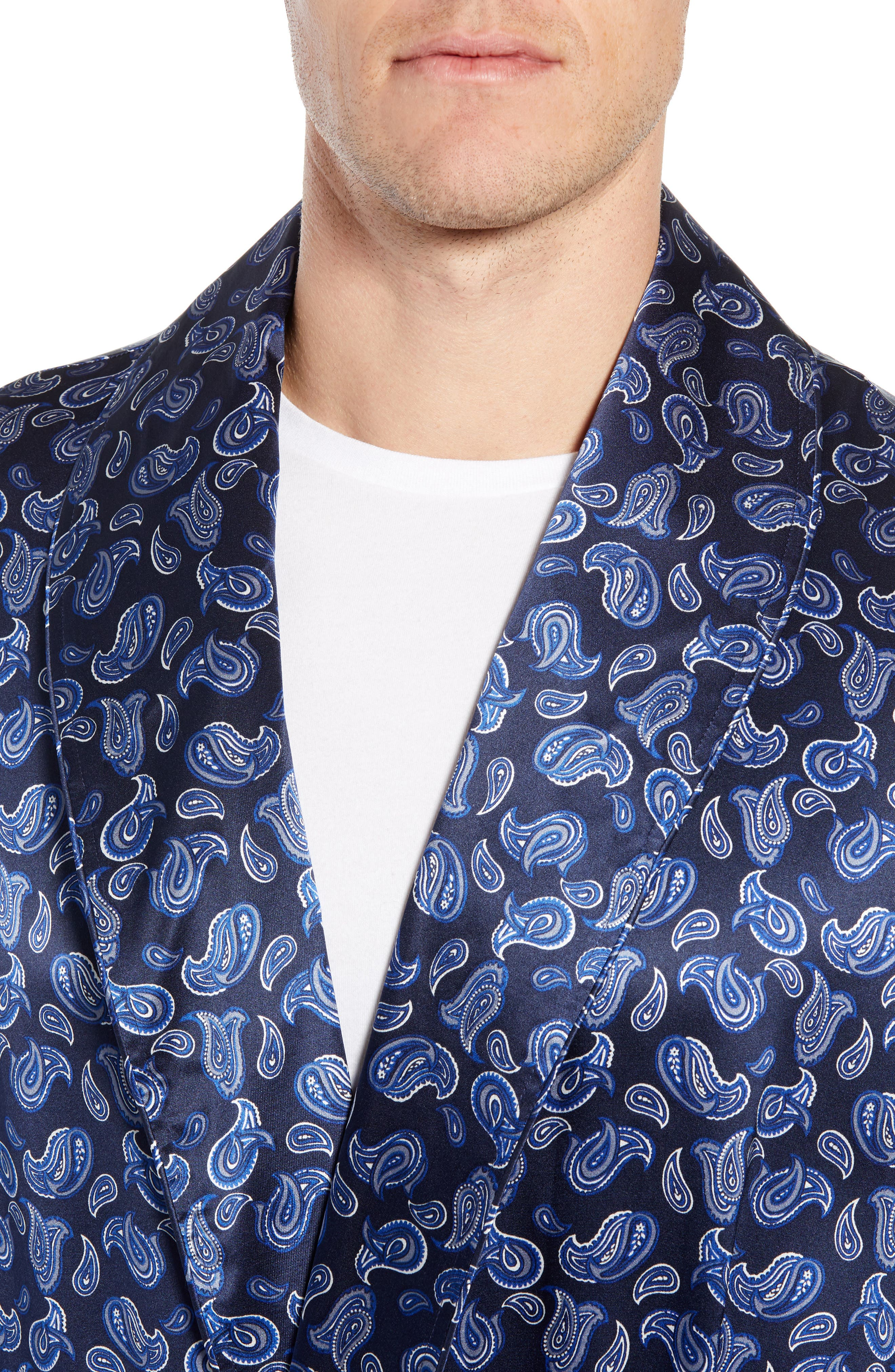 Sapphire Silk Robe,                             Alternate thumbnail 4, color,                             NAVY PAISLEY