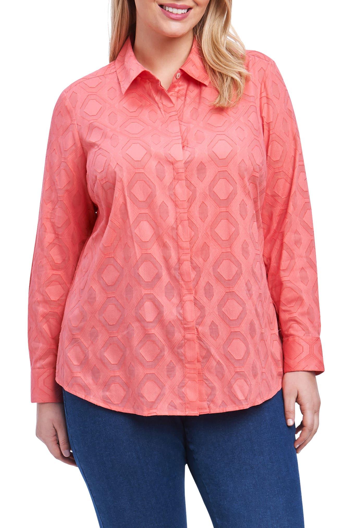 Ava Diamond Clip Jacquard Shirt,                             Main thumbnail 1, color,                             SUNSET CORAL