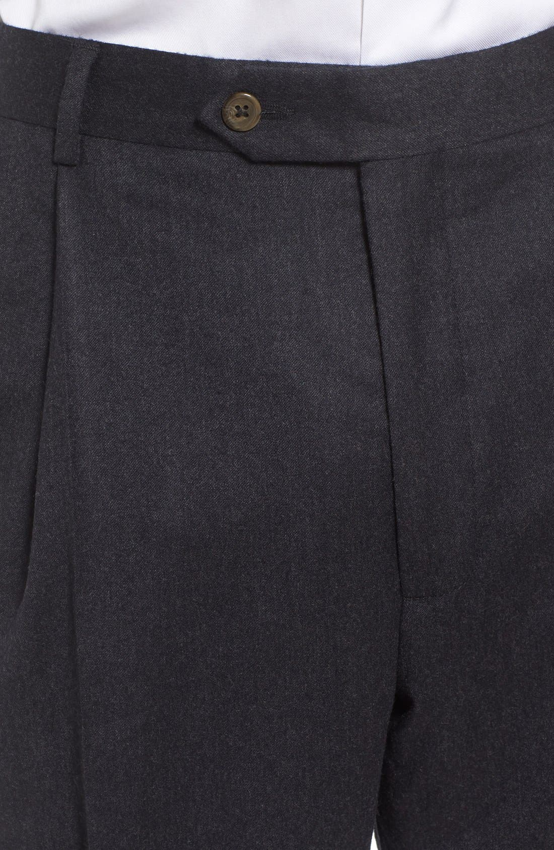 Pleated Solid Wool Trousers,                             Alternate thumbnail 5, color,                             021