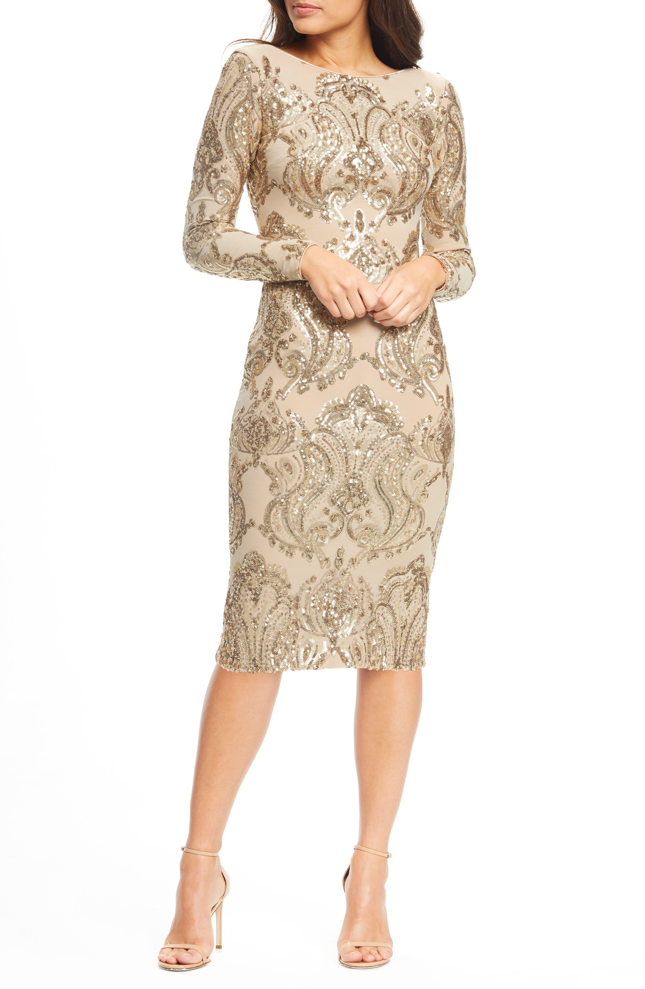 Dress The Population Emery Sequin Sheath Dress, Beige