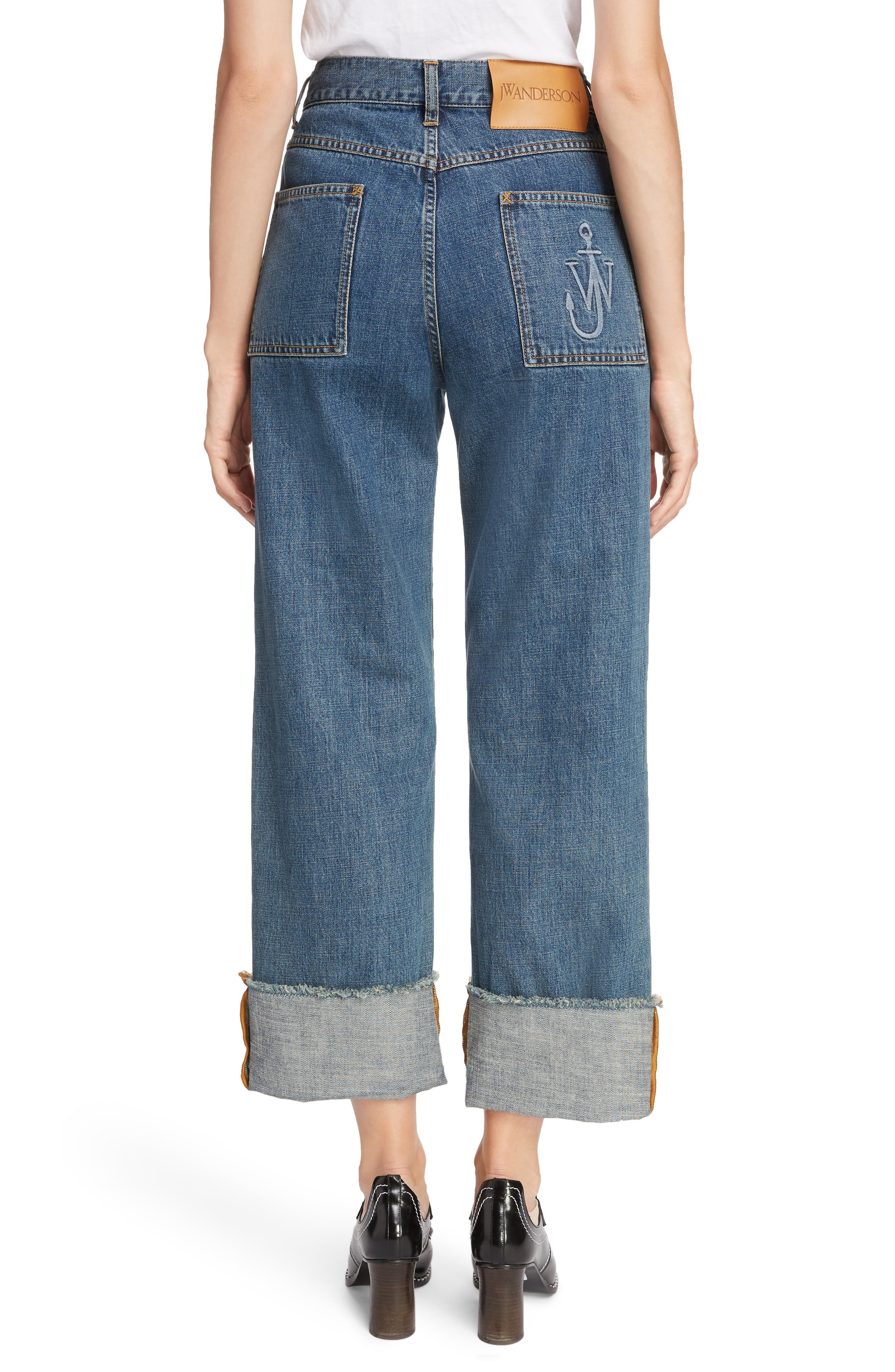 Shaded Pocket Wide Leg Ankle Jeans,                             Alternate thumbnail 2, color,                             MID BLUE
