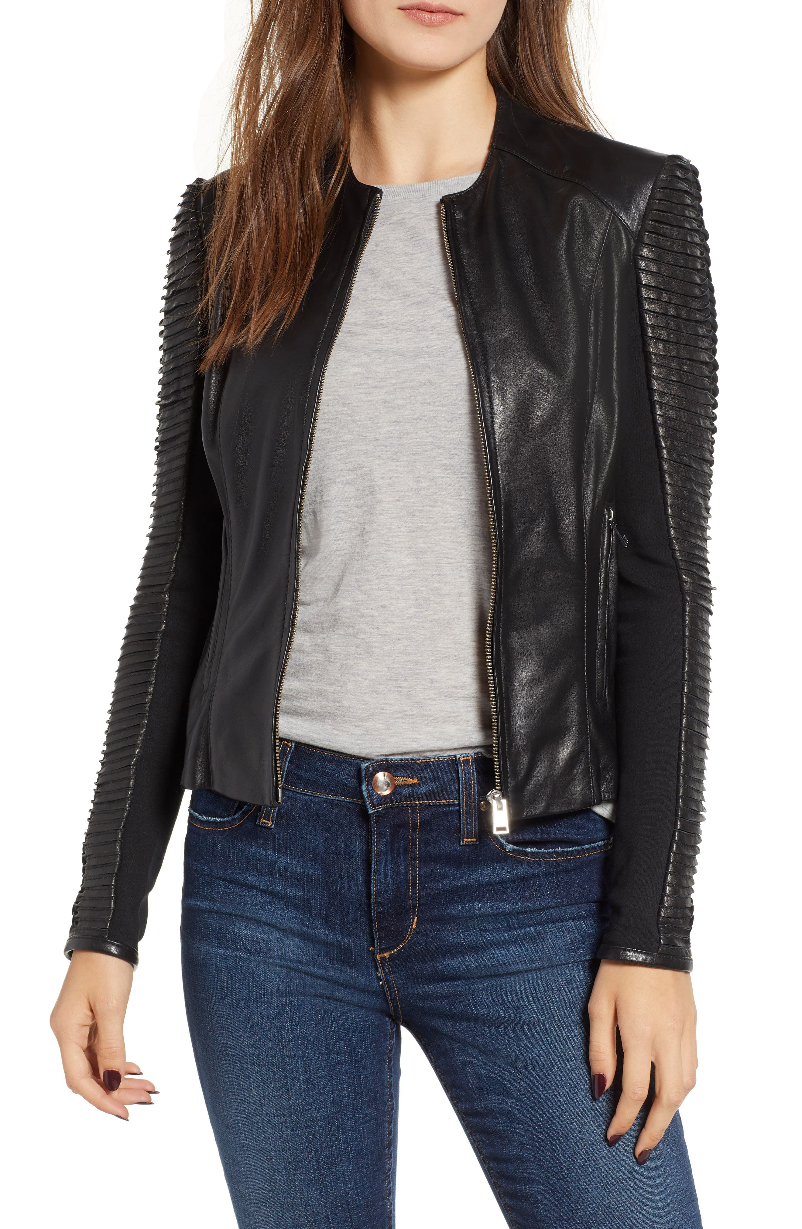 Collarless Pleated Sleeve Leather Jacket,                             Main thumbnail 1, color,                             BLACK
