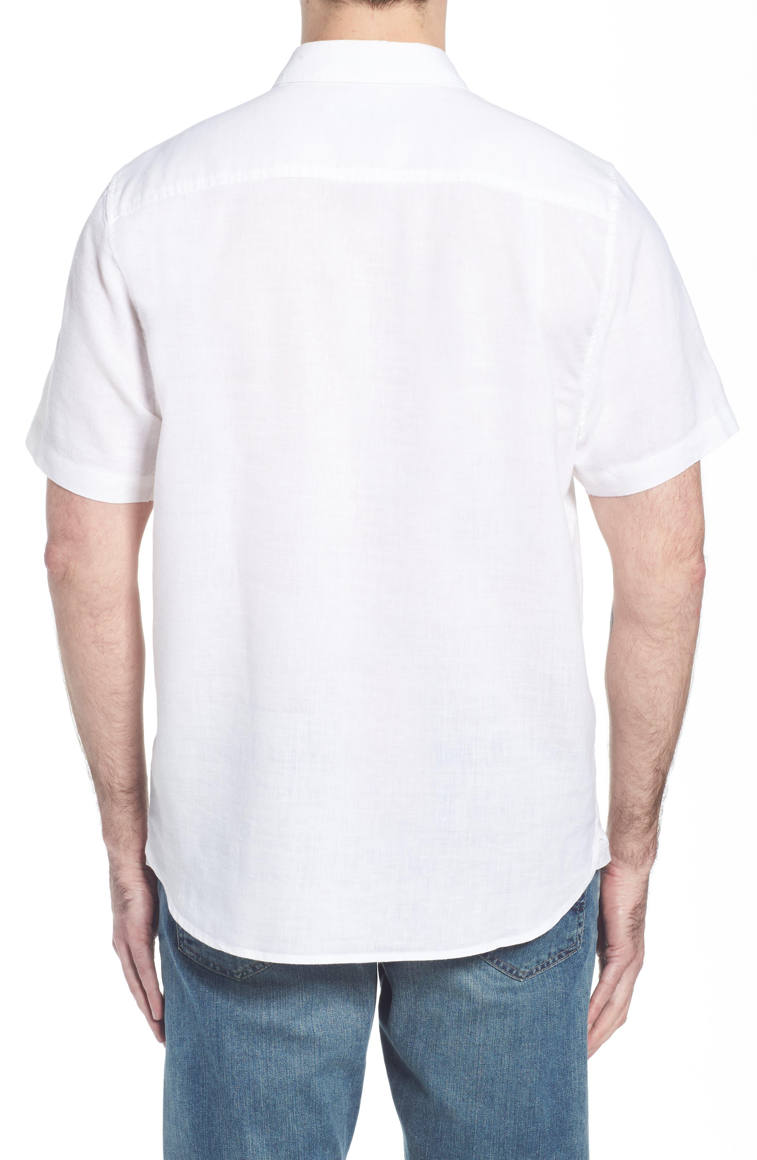 Lanai Tides Linen Blend Sport Shirt,                             Alternate thumbnail 2, color,                             100