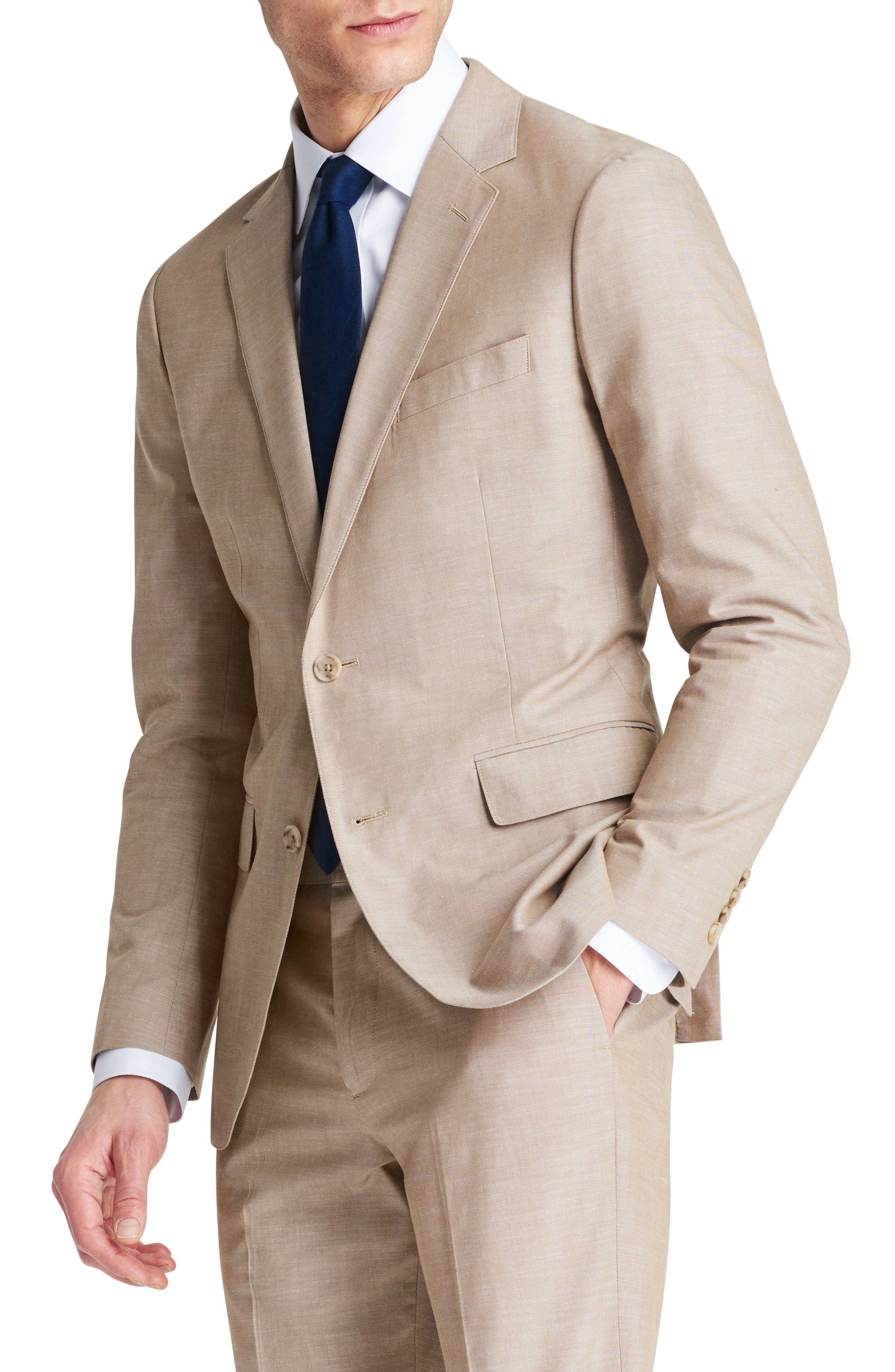 Trim Fit Chambray Cotton Blazer,                             Main thumbnail 2, color,